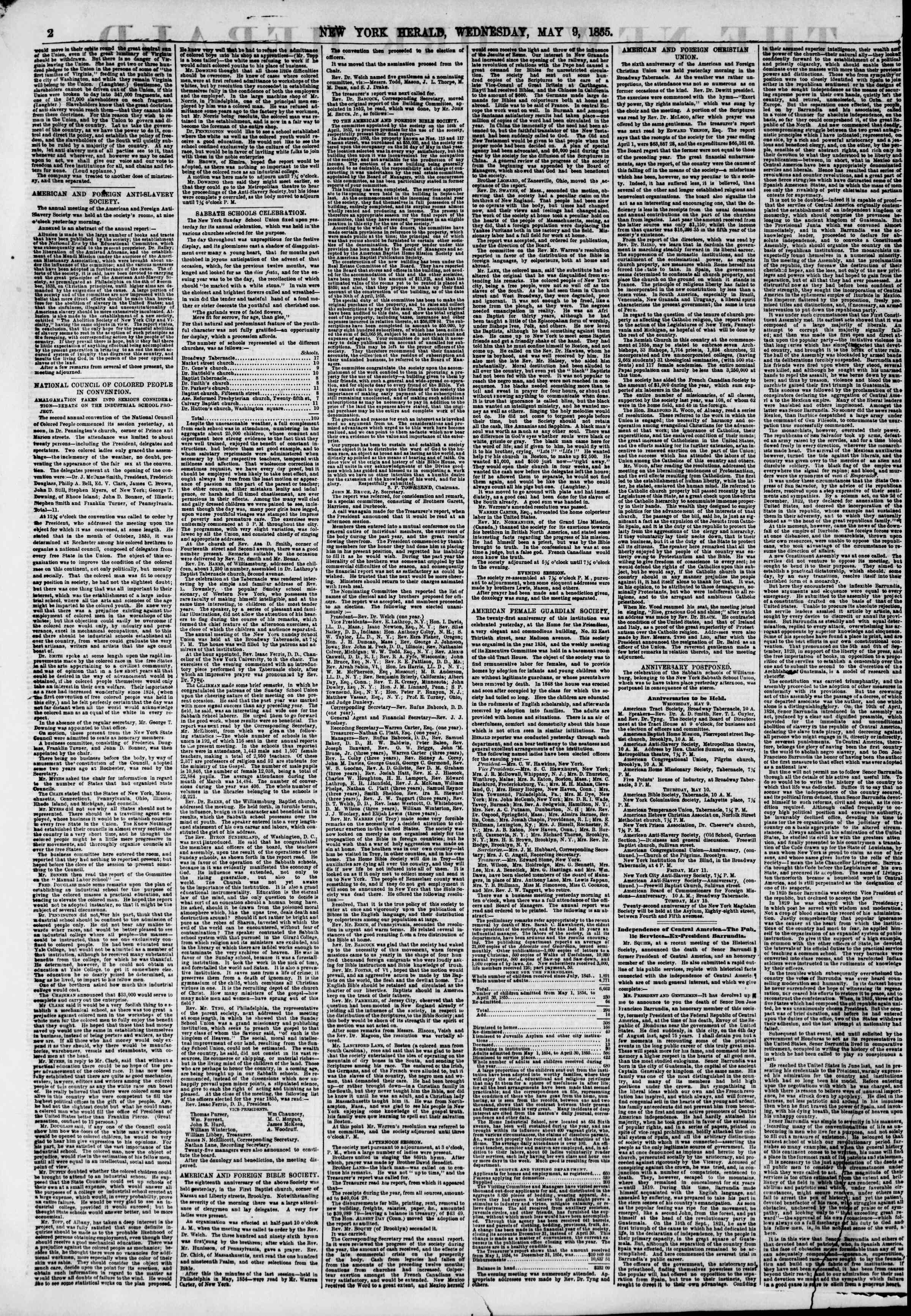 Newspaper of The New York Herald dated May 9, 1855 Page 2