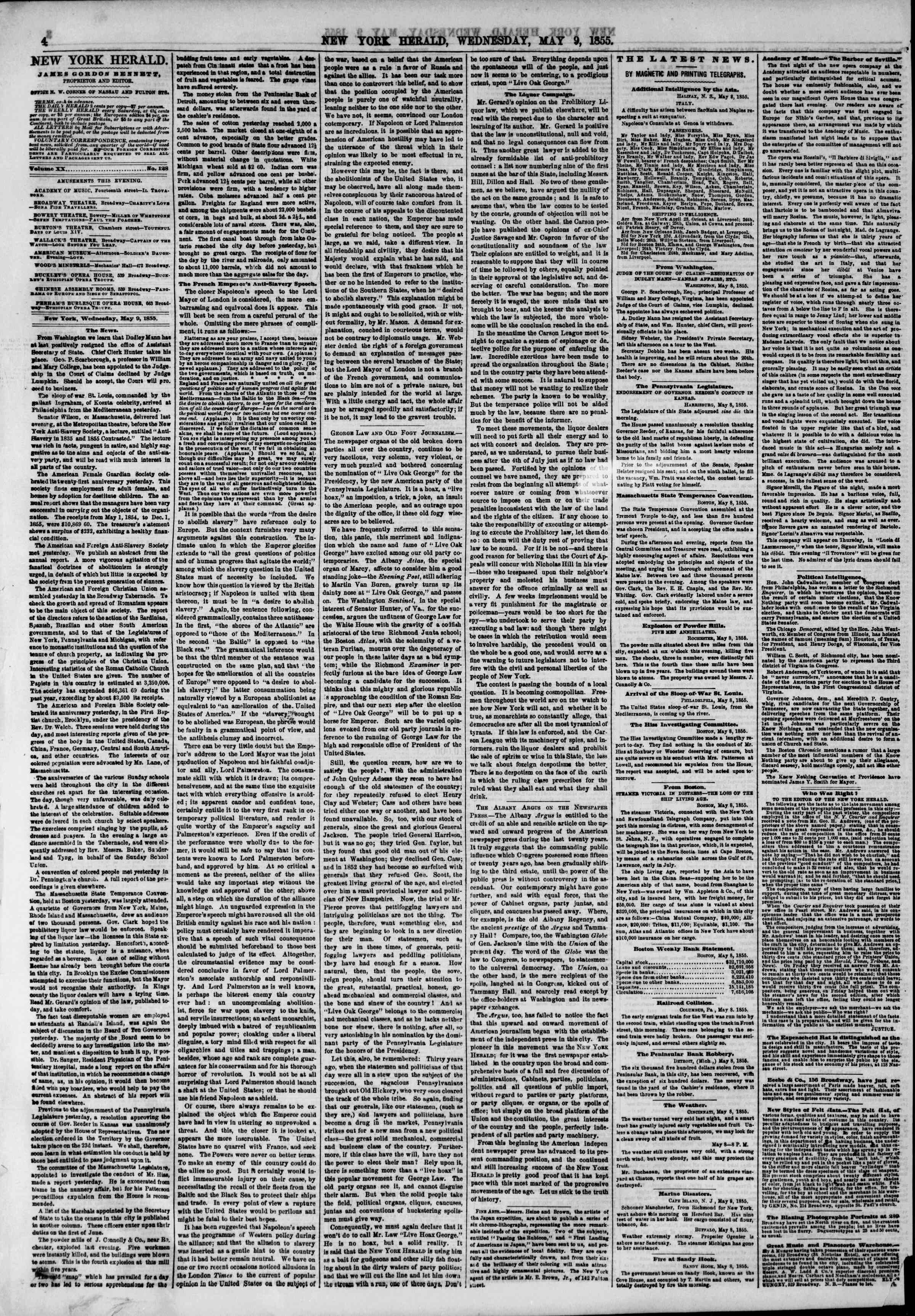 Newspaper of The New York Herald dated May 9, 1855 Page 4