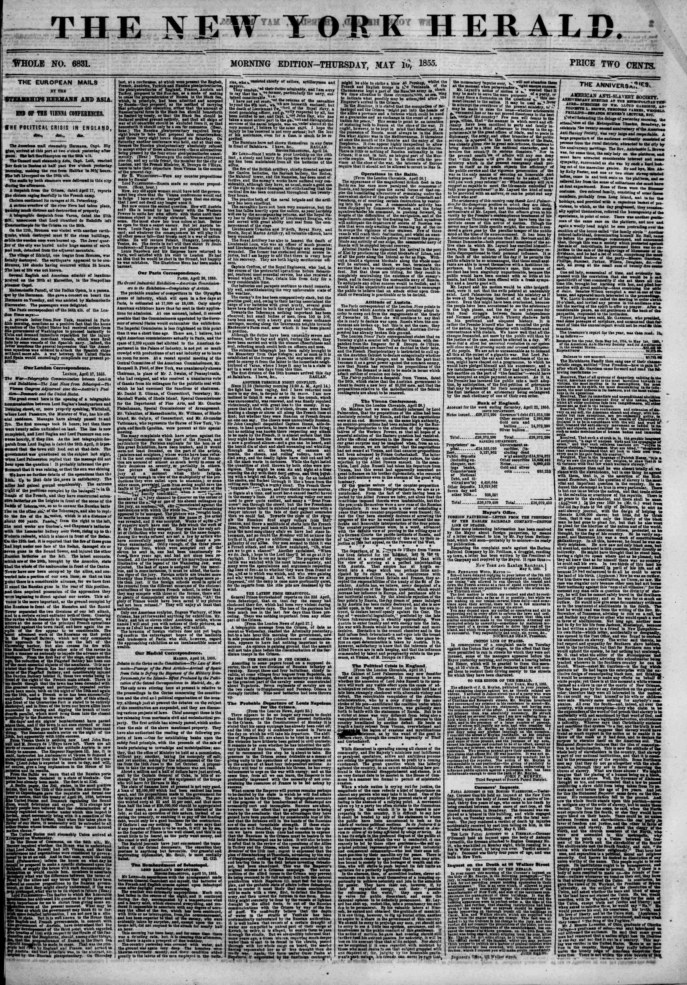 Newspaper of The New York Herald dated May 10, 1855 Page 1