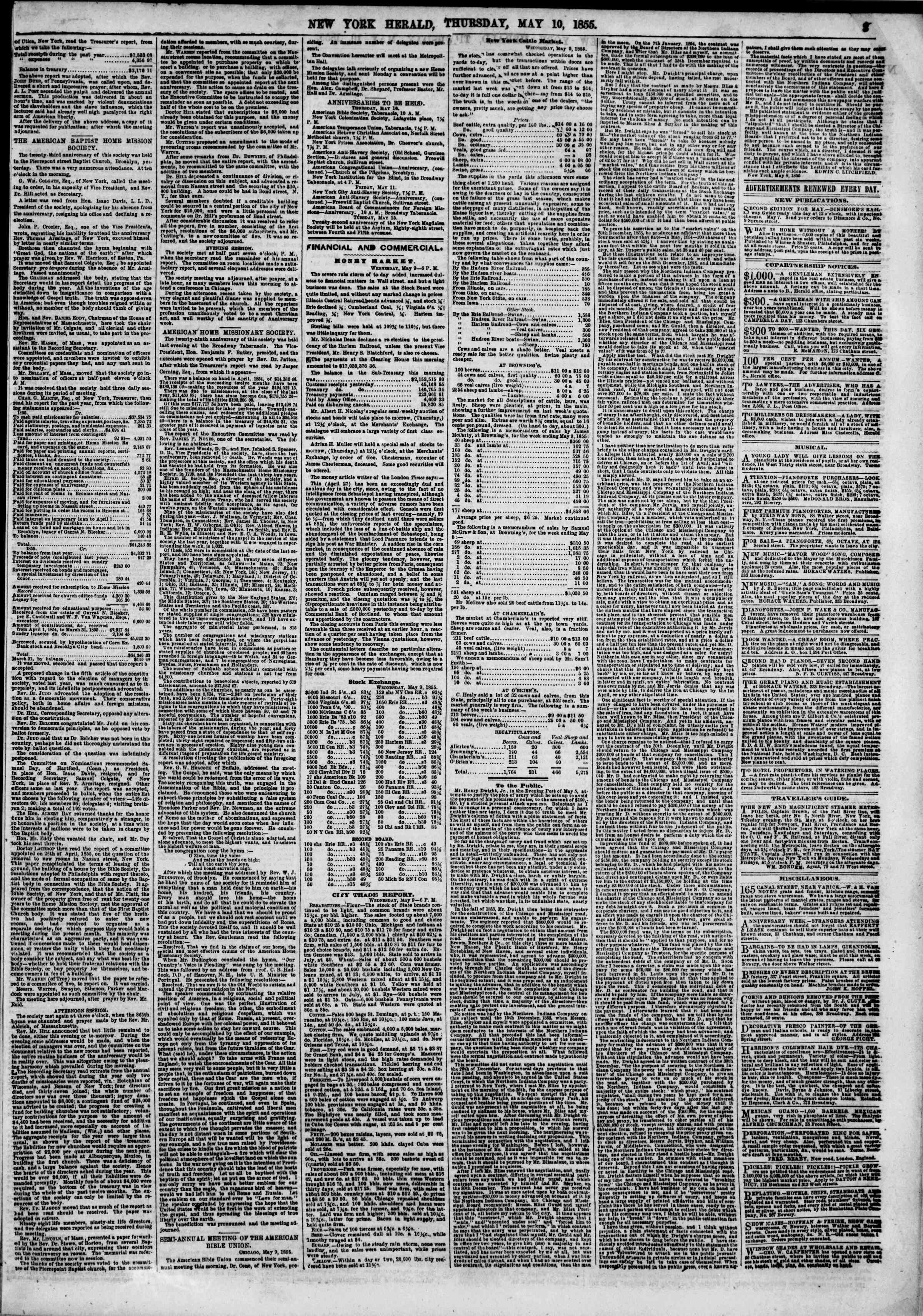 Newspaper of The New York Herald dated May 10, 1855 Page 3