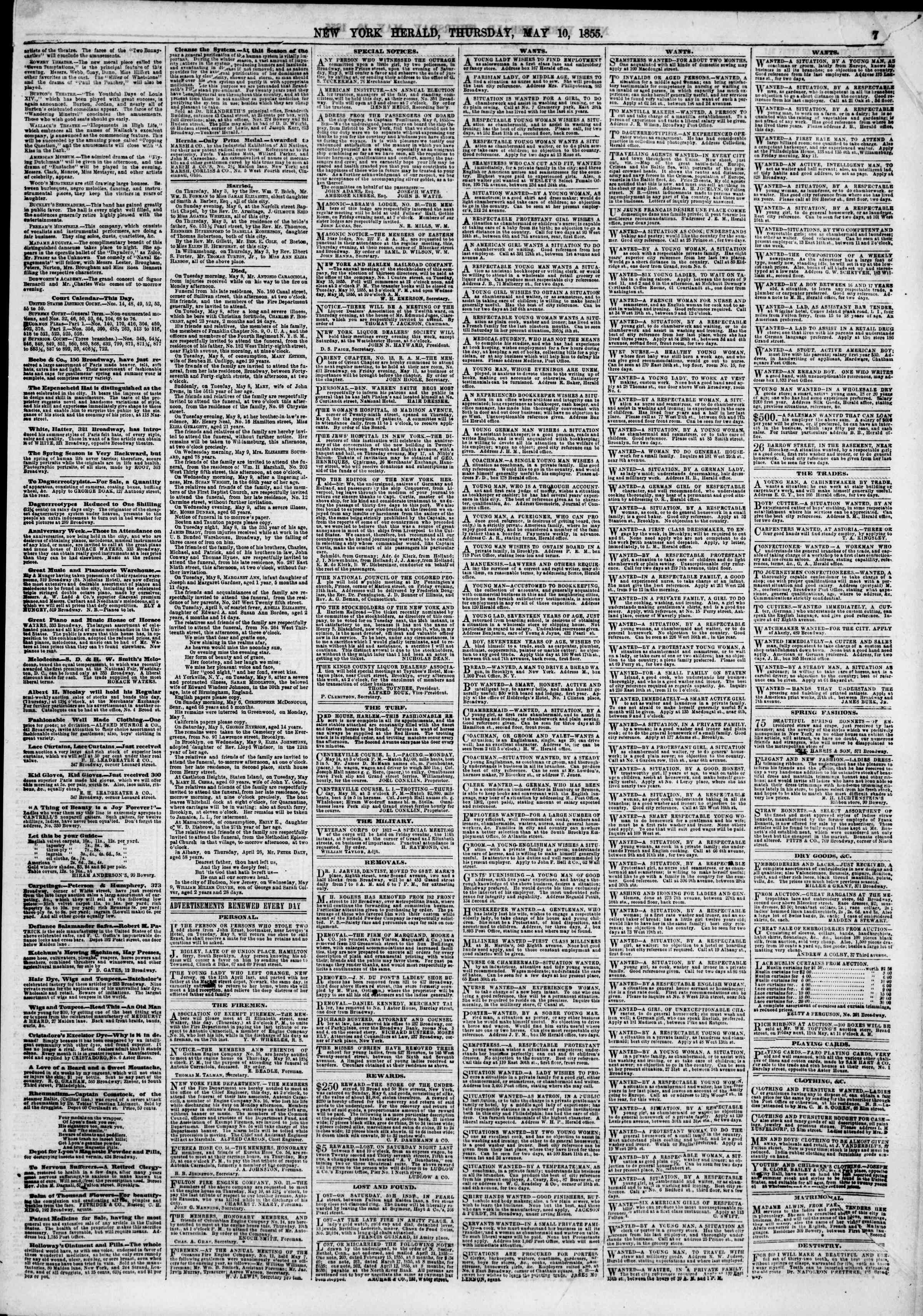 Newspaper of The New York Herald dated May 10, 1855 Page 5