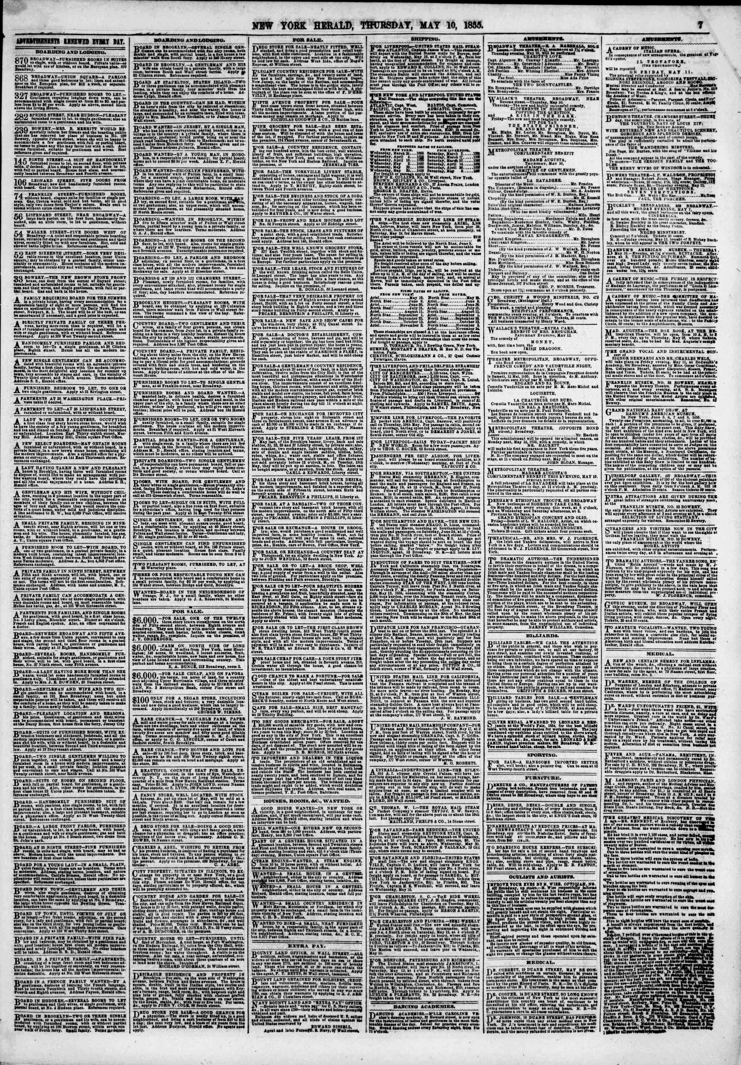 Newspaper of The New York Herald dated May 10, 1855 Page 7