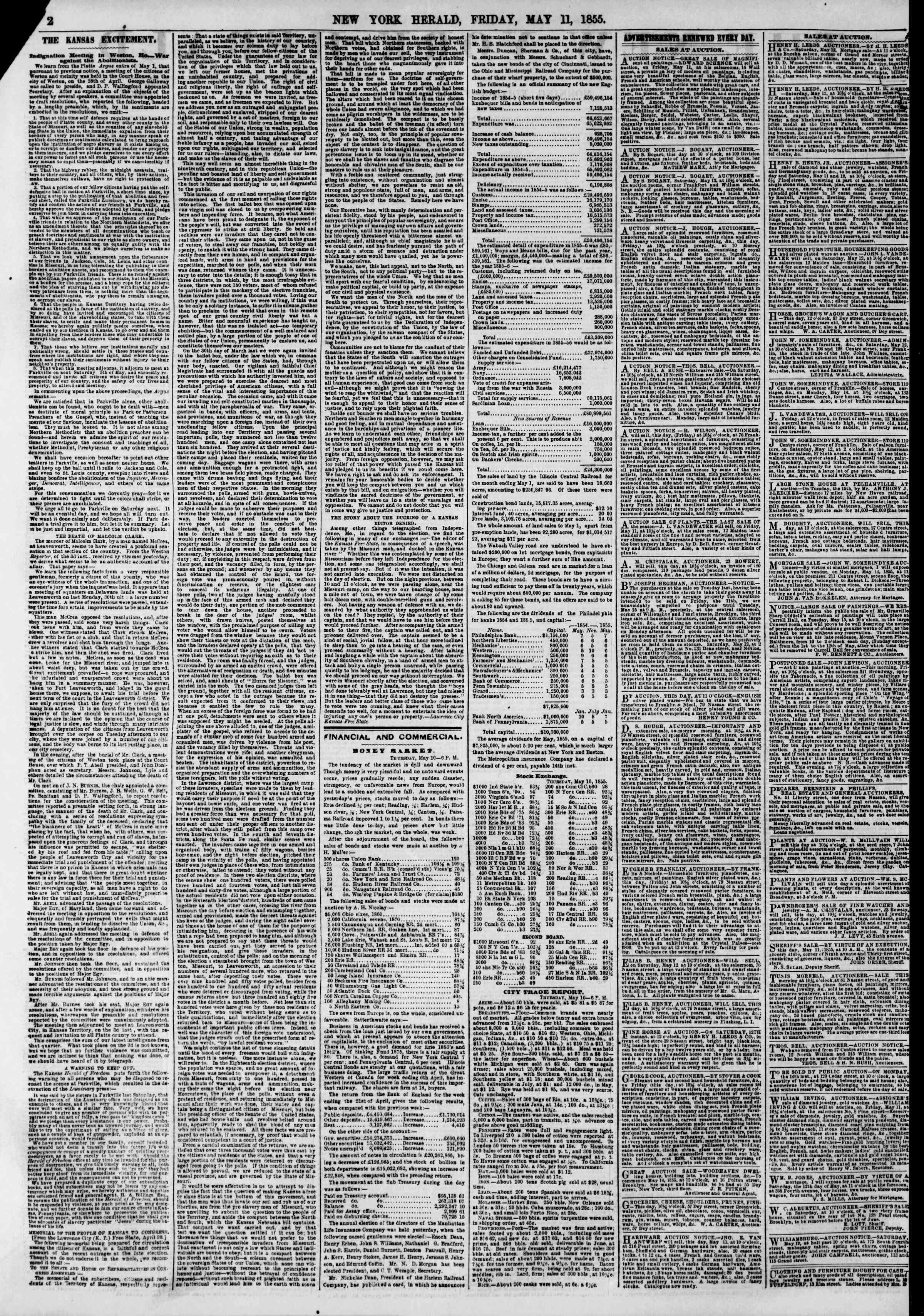 Newspaper of The New York Herald dated May 11, 1855 Page 2