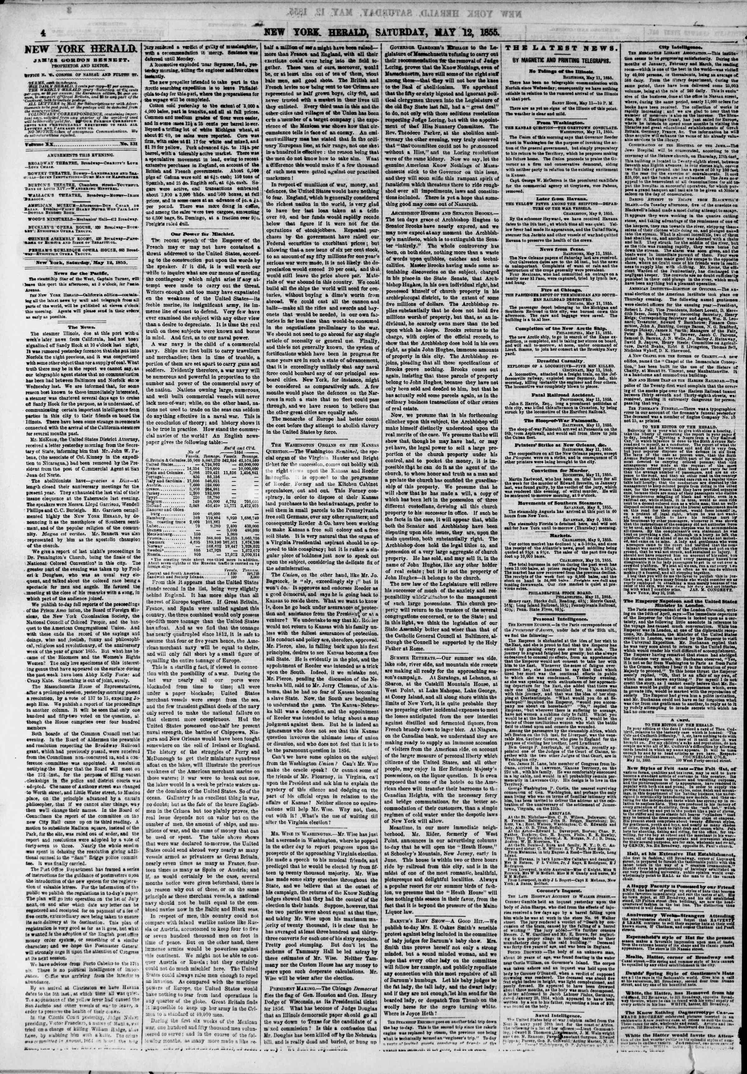 Newspaper of The New York Herald dated May 12, 1855 Page 4