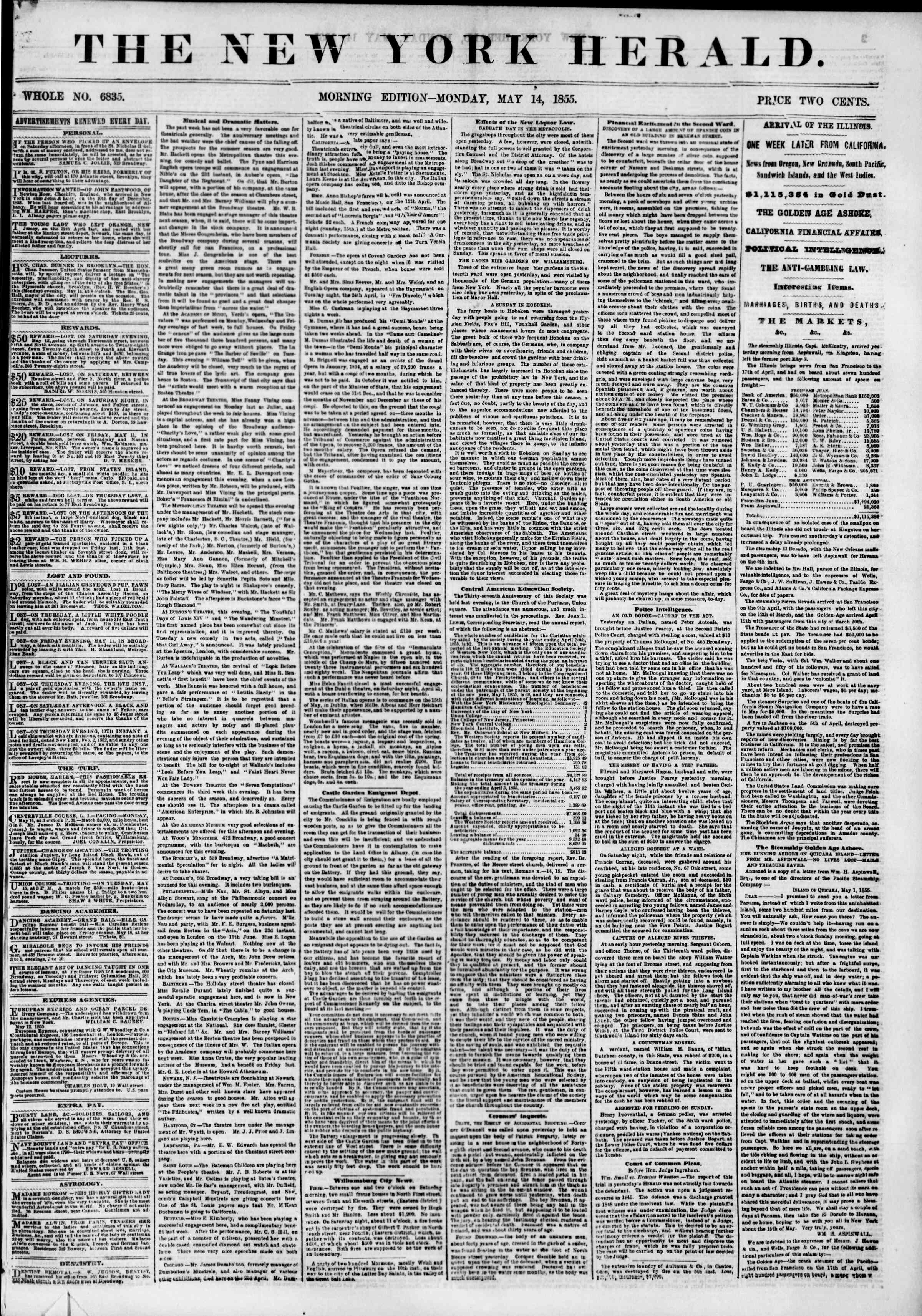 Newspaper of The New York Herald dated 14 Mayıs 1855 Page 1