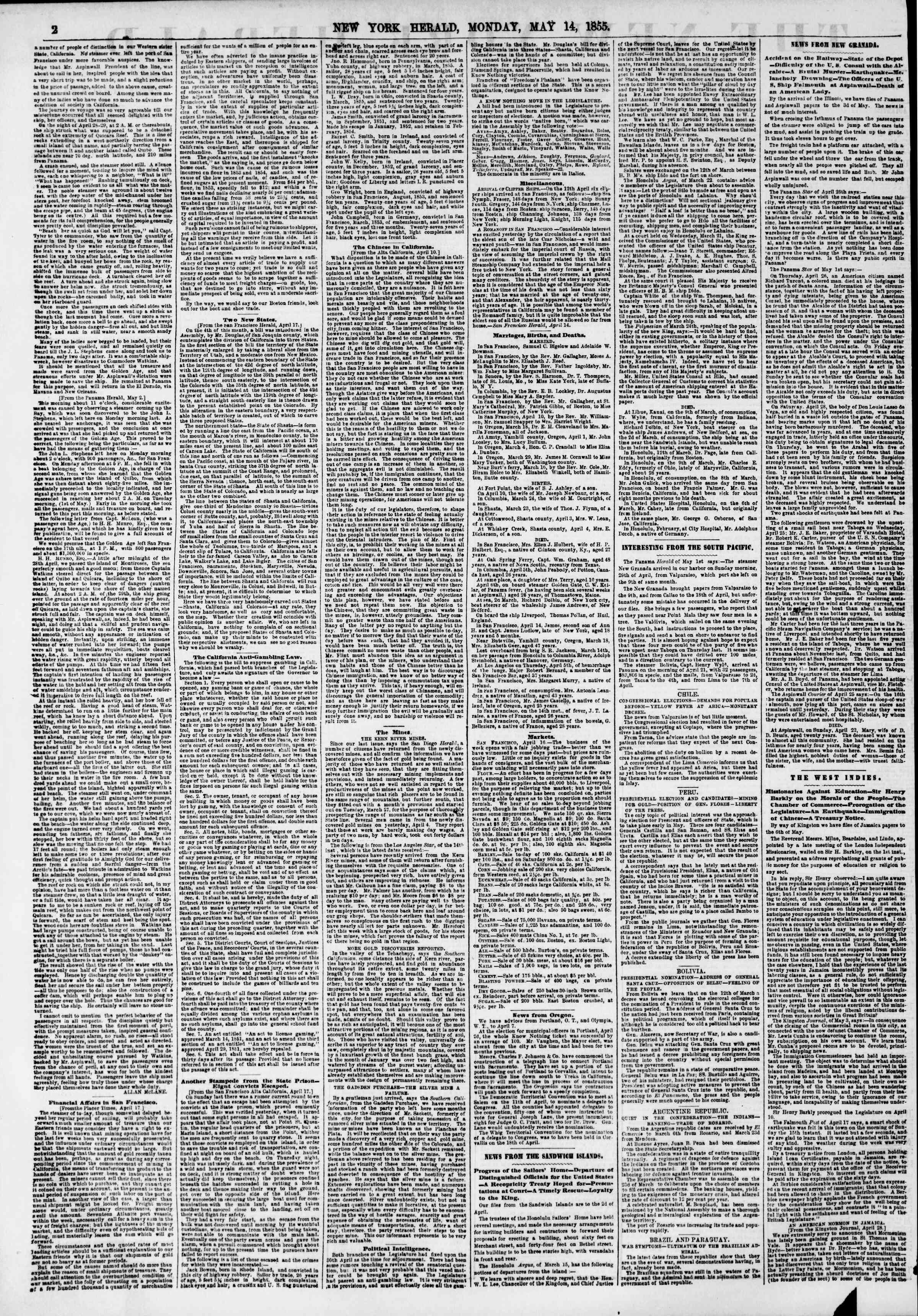 Newspaper of The New York Herald dated May 14, 1855 Page 2