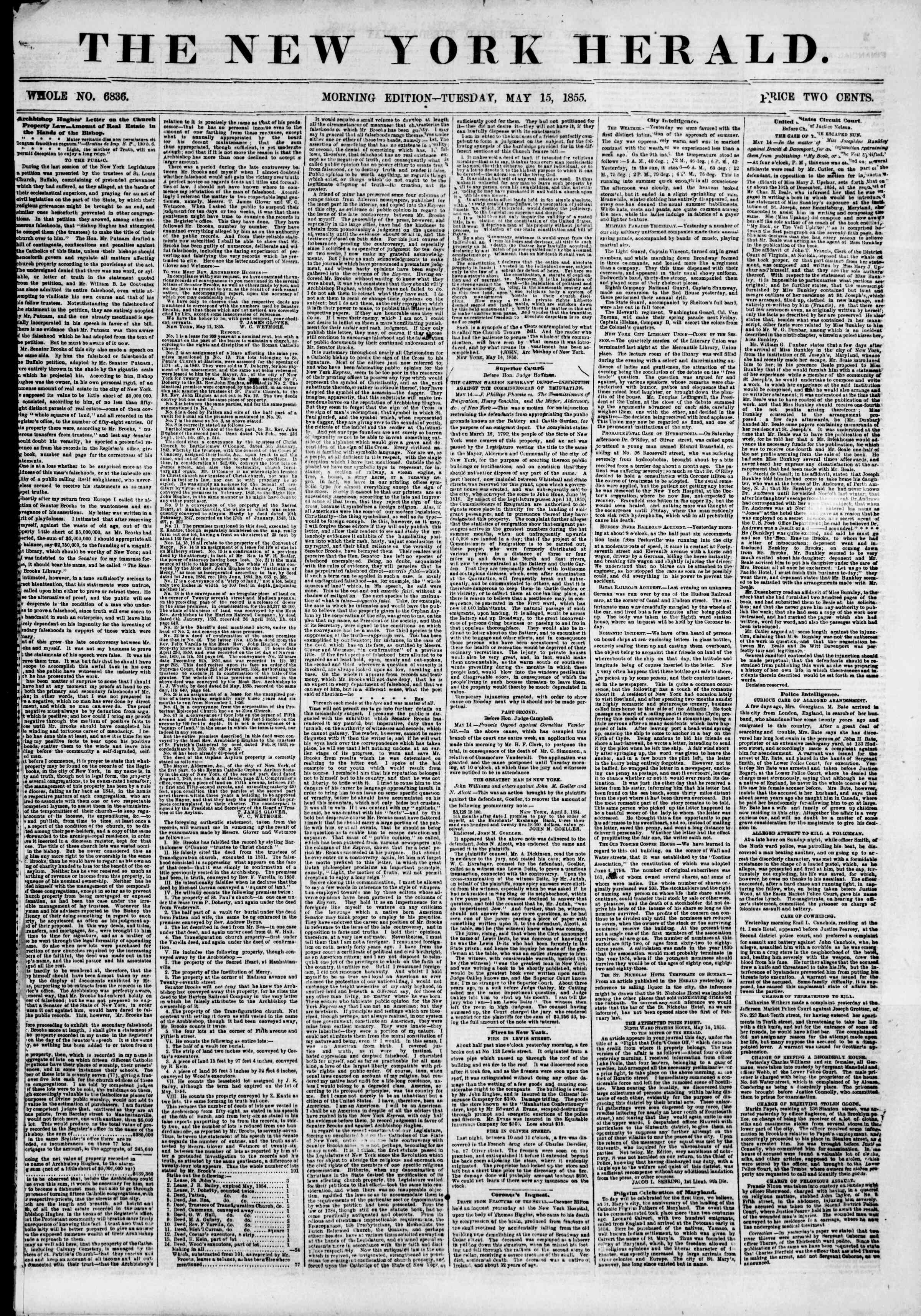 Newspaper of The New York Herald dated May 15, 1855 Page 1