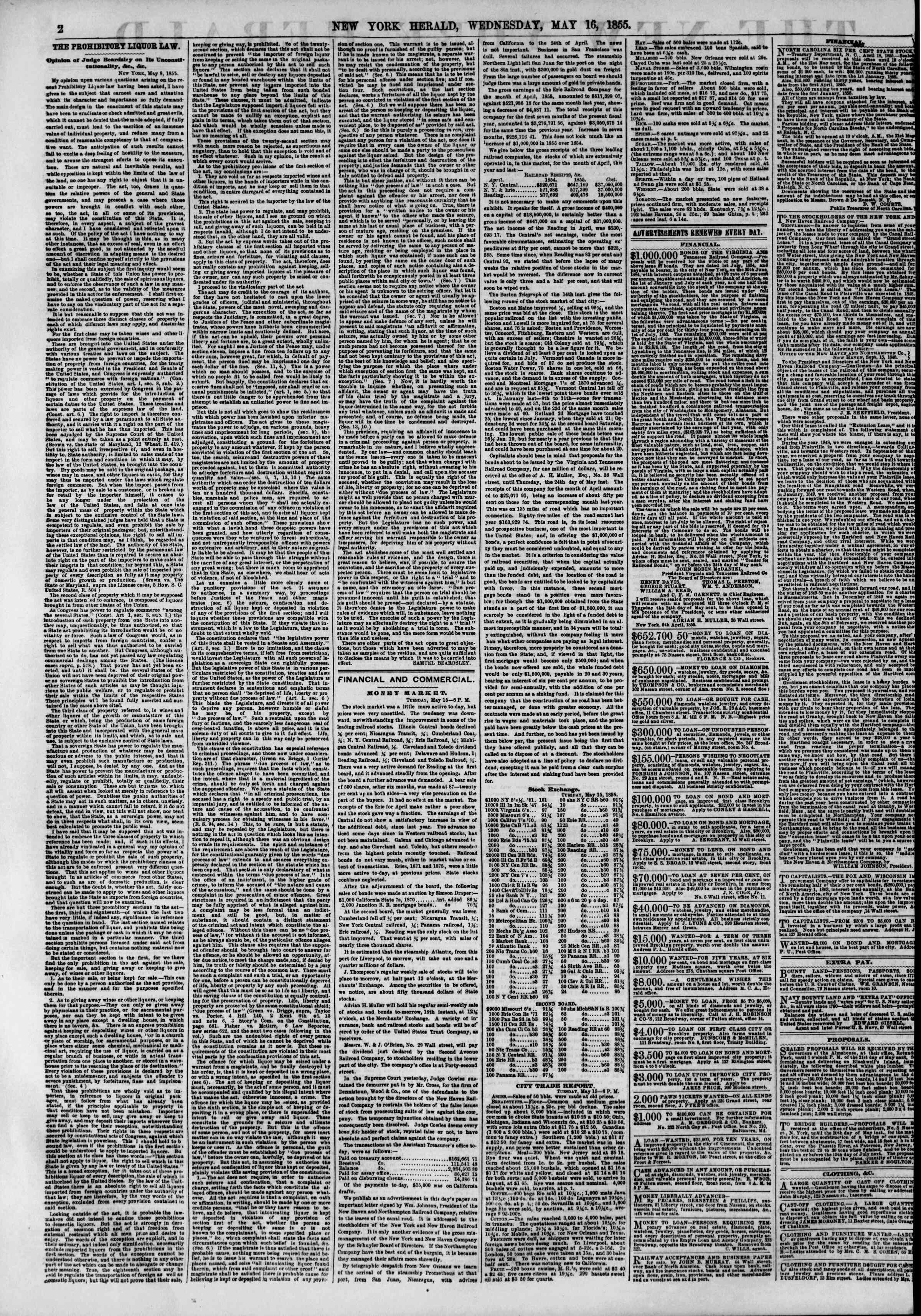 Newspaper of The New York Herald dated May 16, 1855 Page 2