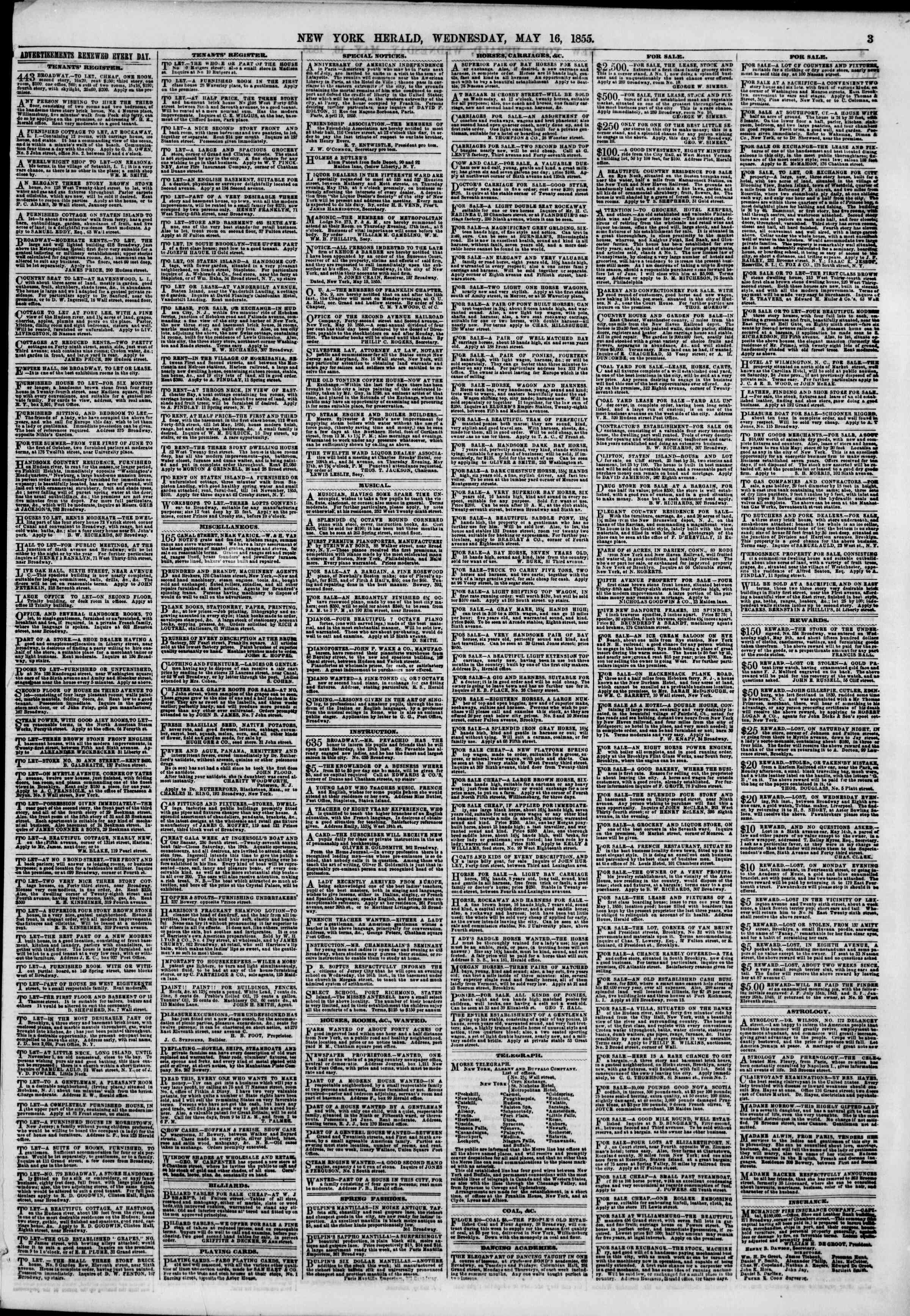 Newspaper of The New York Herald dated May 16, 1855 Page 3