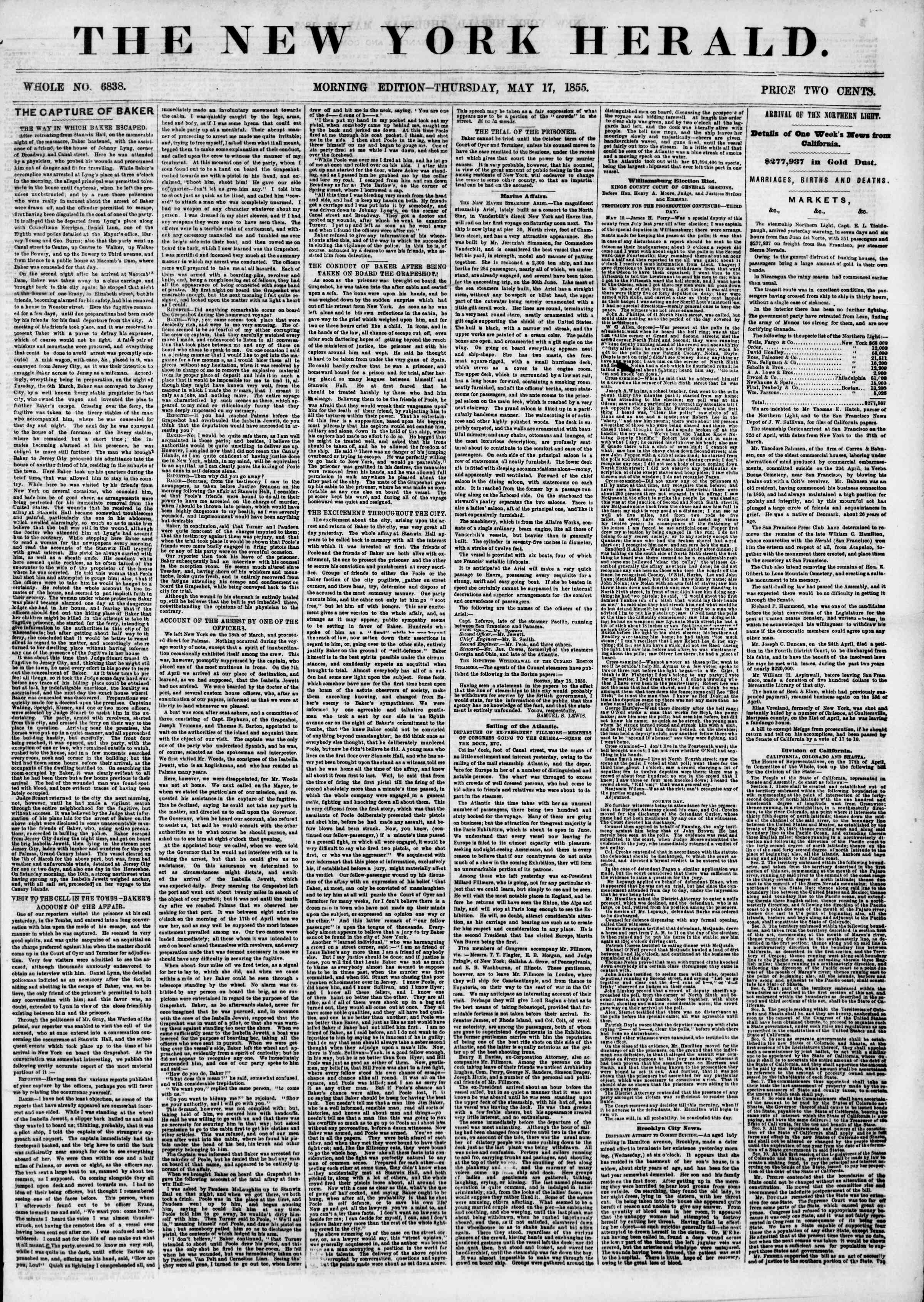 Newspaper of The New York Herald dated May 17, 1855 Page 1