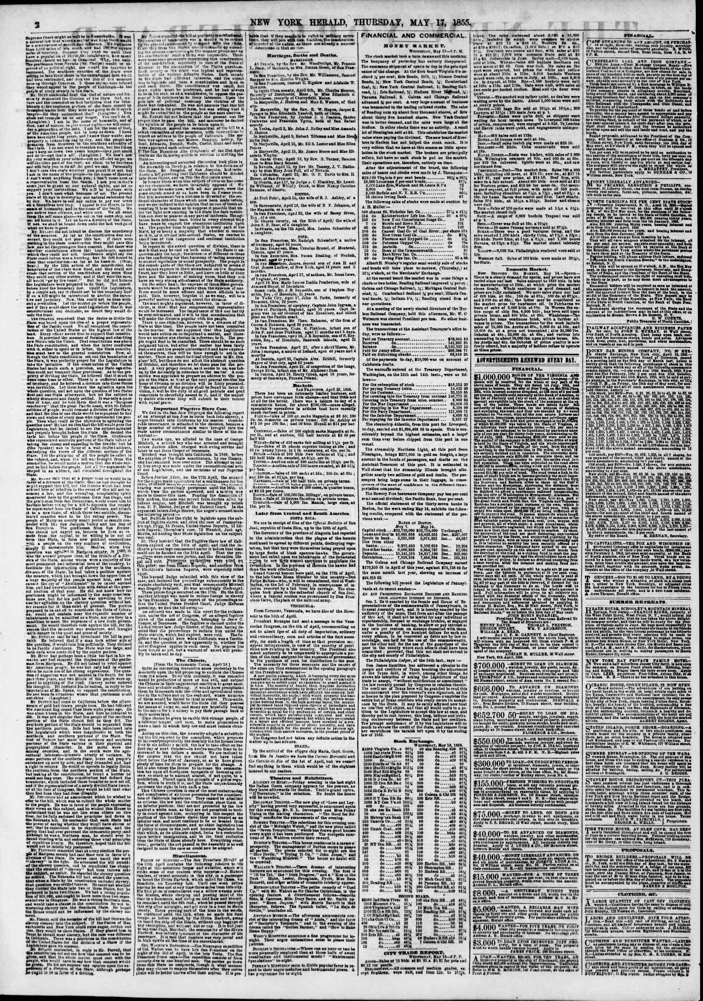 Newspaper of The New York Herald dated May 17, 1855 Page 2