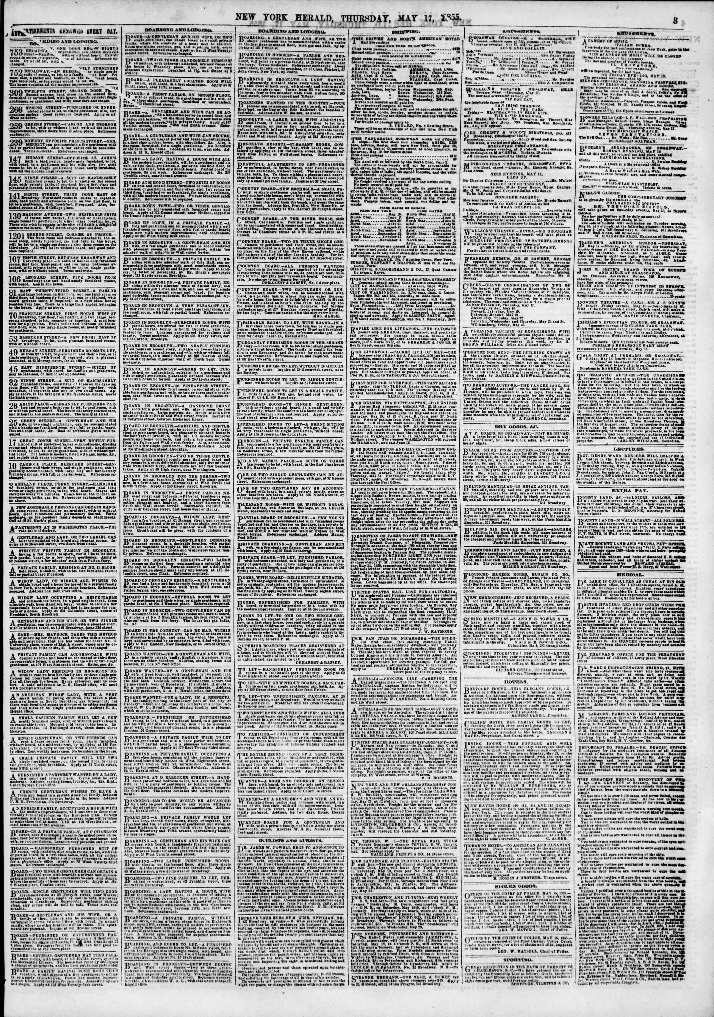 Newspaper of The New York Herald dated May 17, 1855 Page 3