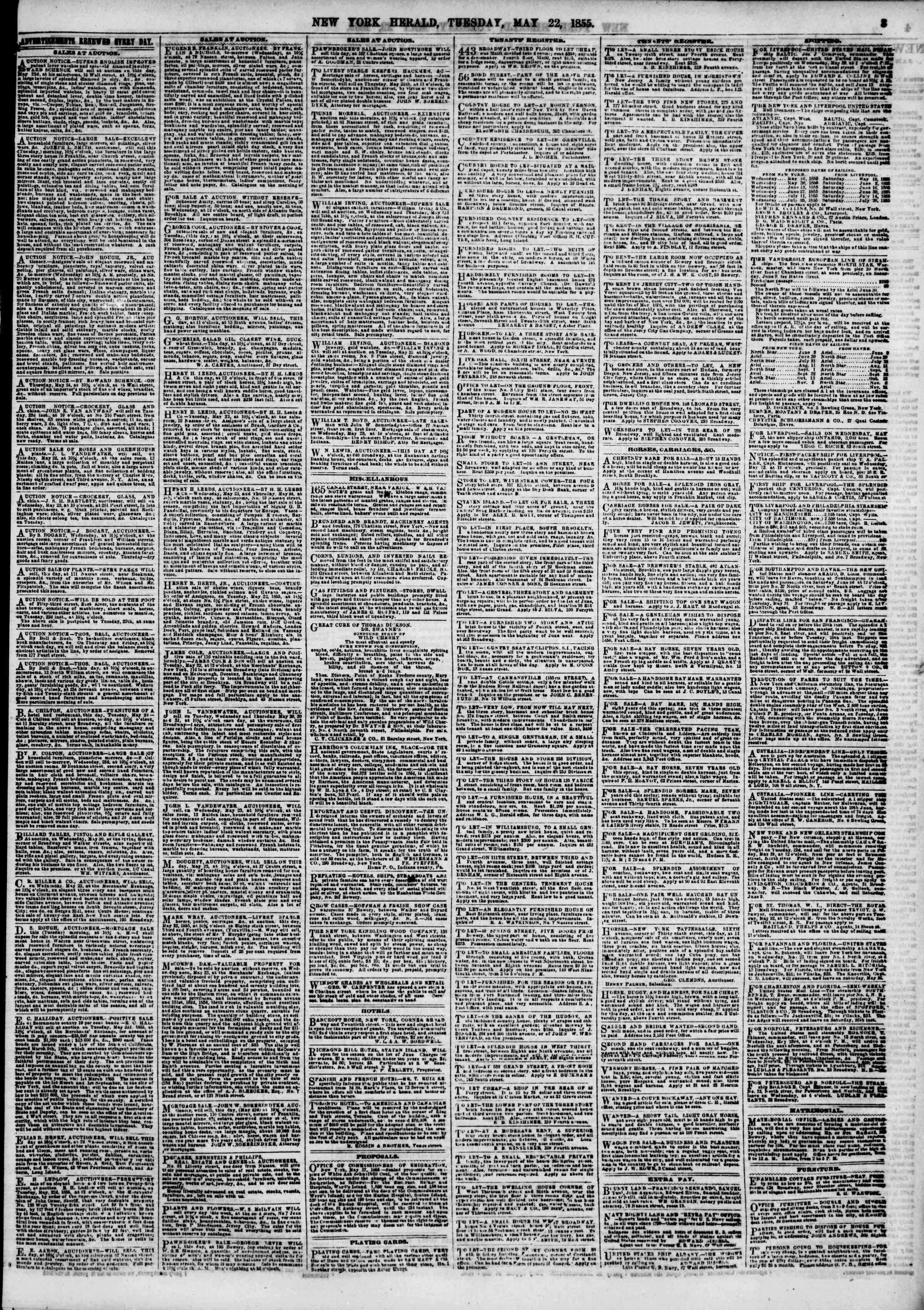 Newspaper of The New York Herald dated May 22, 1855 Page 3