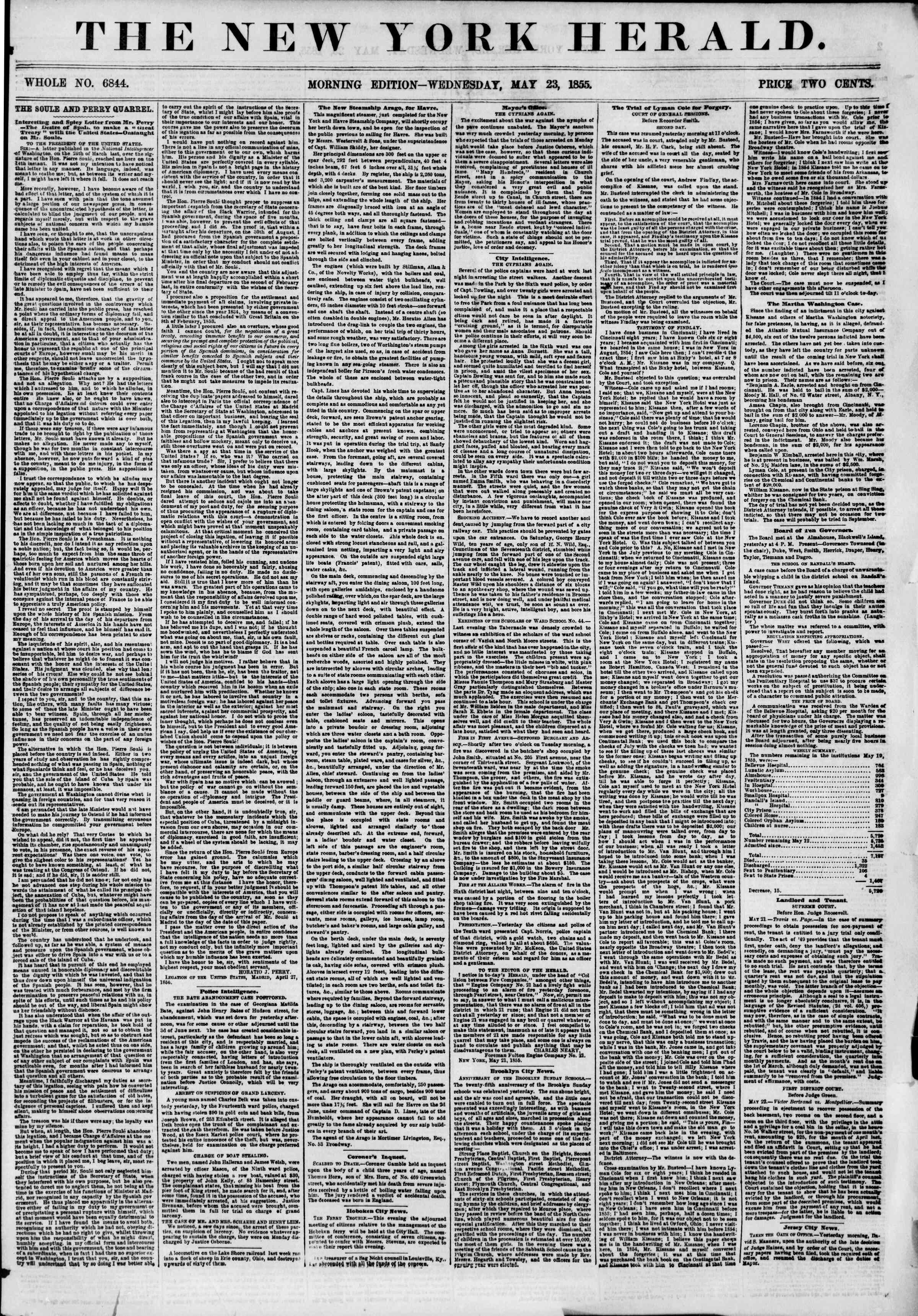 Newspaper of The New York Herald dated May 23, 1855 Page 1