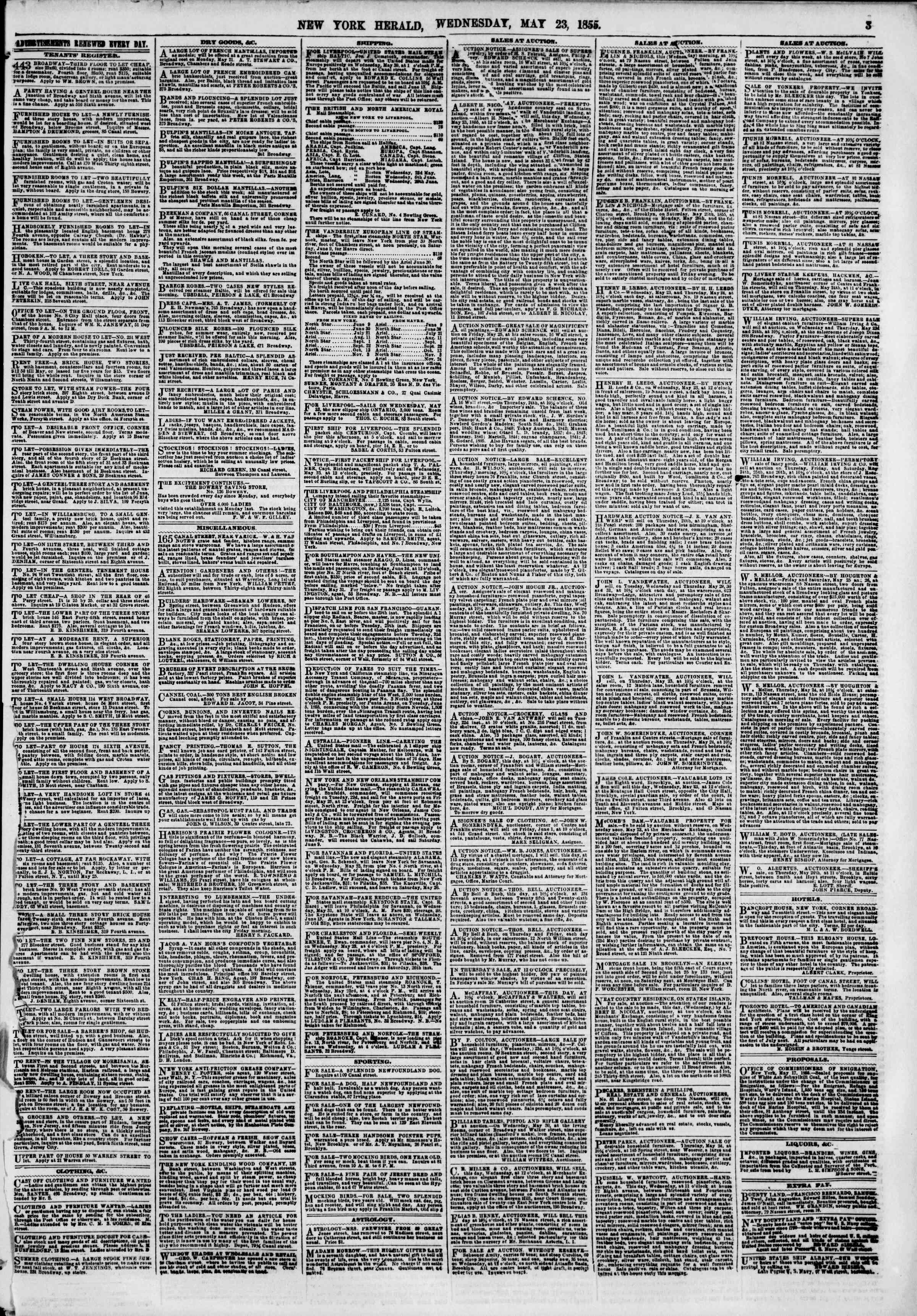 Newspaper of The New York Herald dated May 23, 1855 Page 3