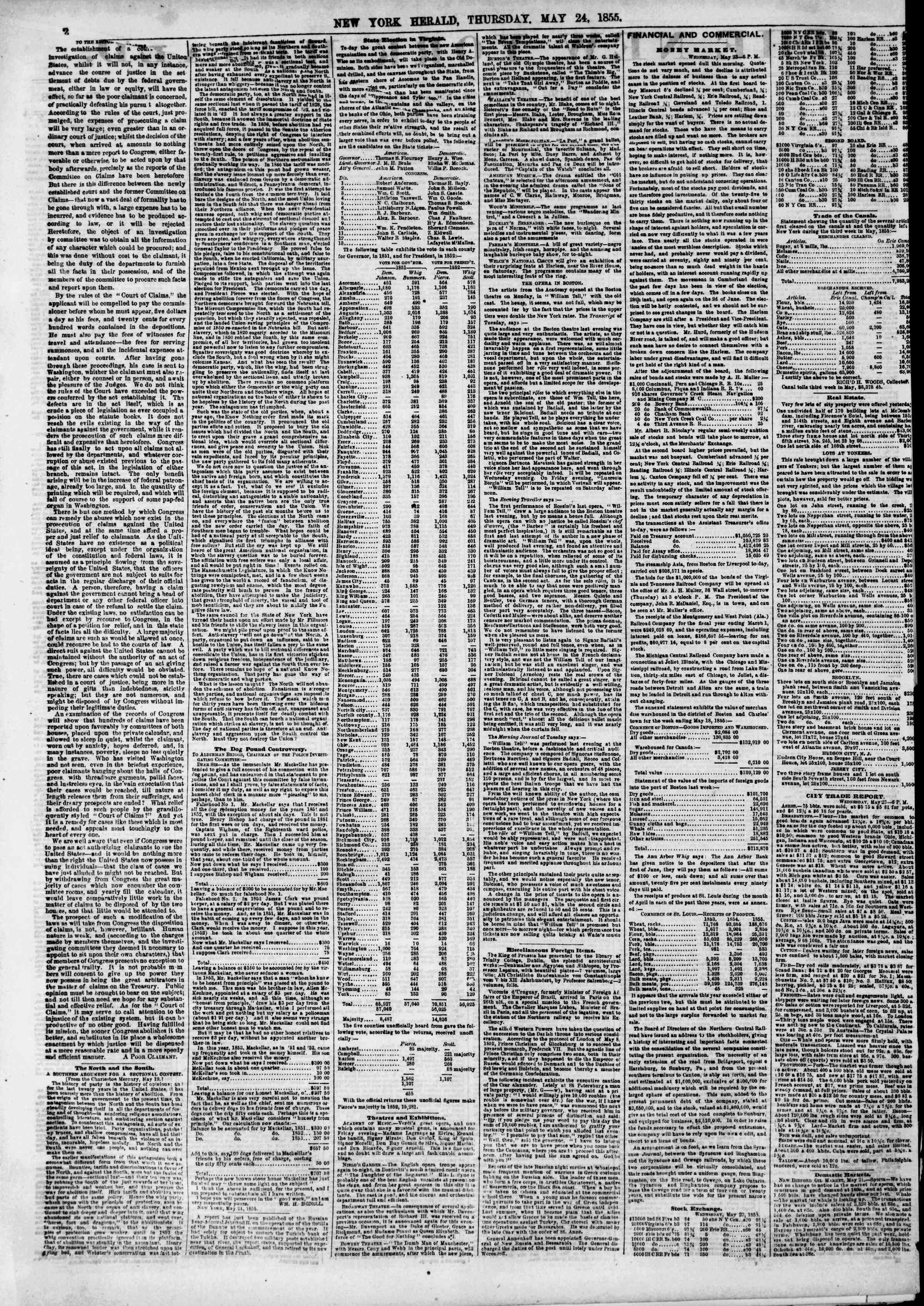 Newspaper of The New York Herald dated May 24, 1855 Page 2