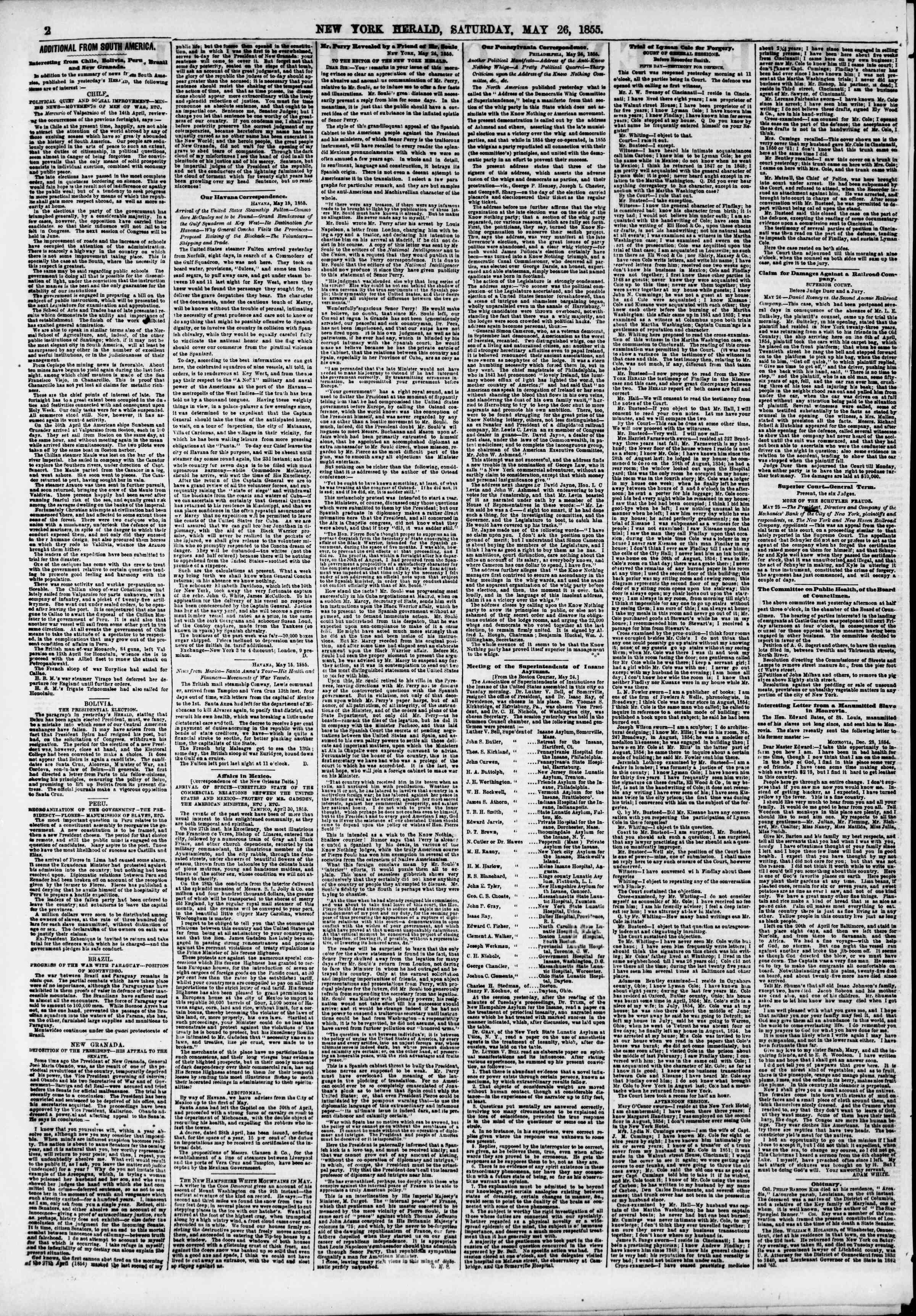 Newspaper of The New York Herald dated May 26, 1855 Page 2