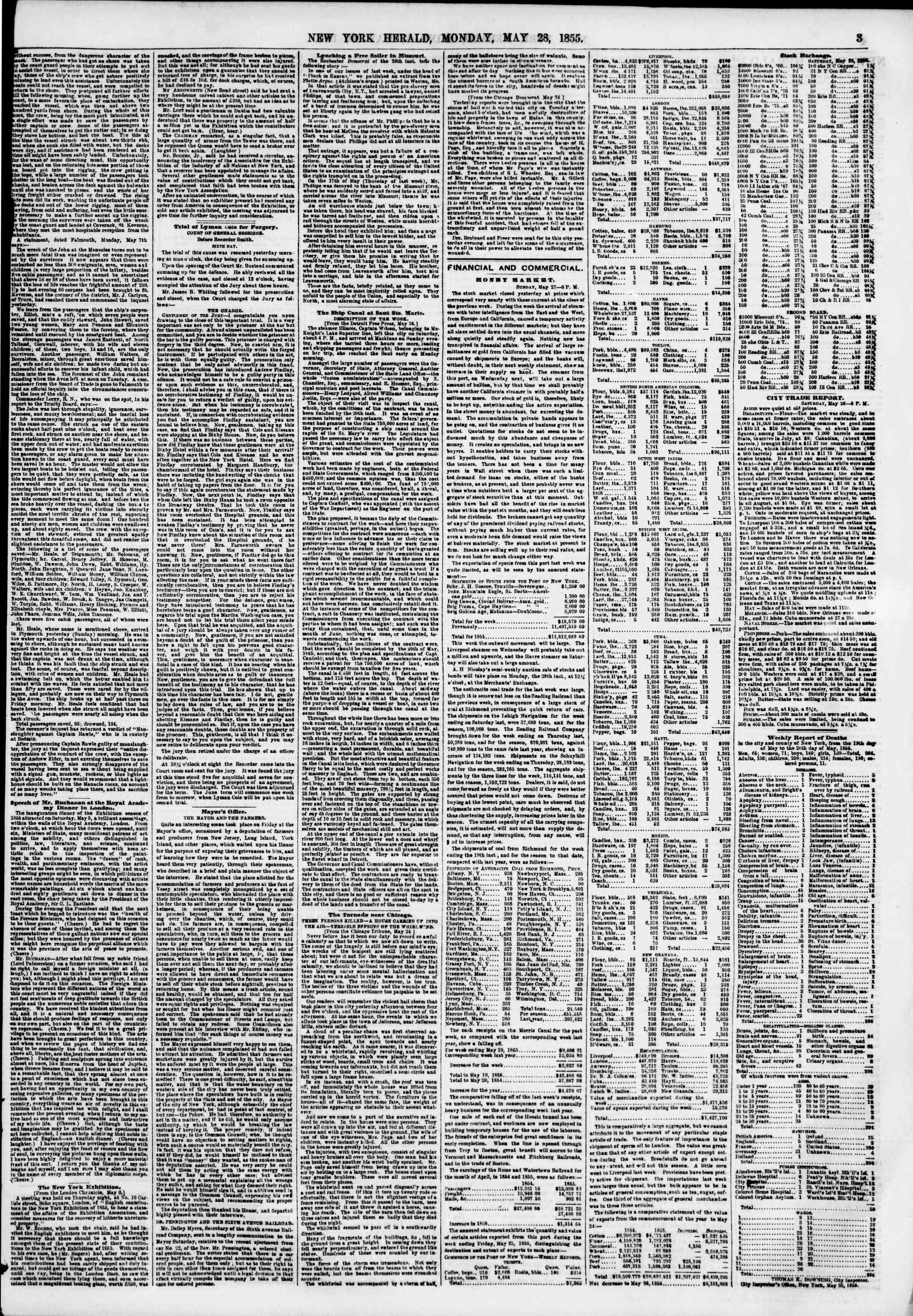 Newspaper of The New York Herald dated May 28, 1855 Page 3