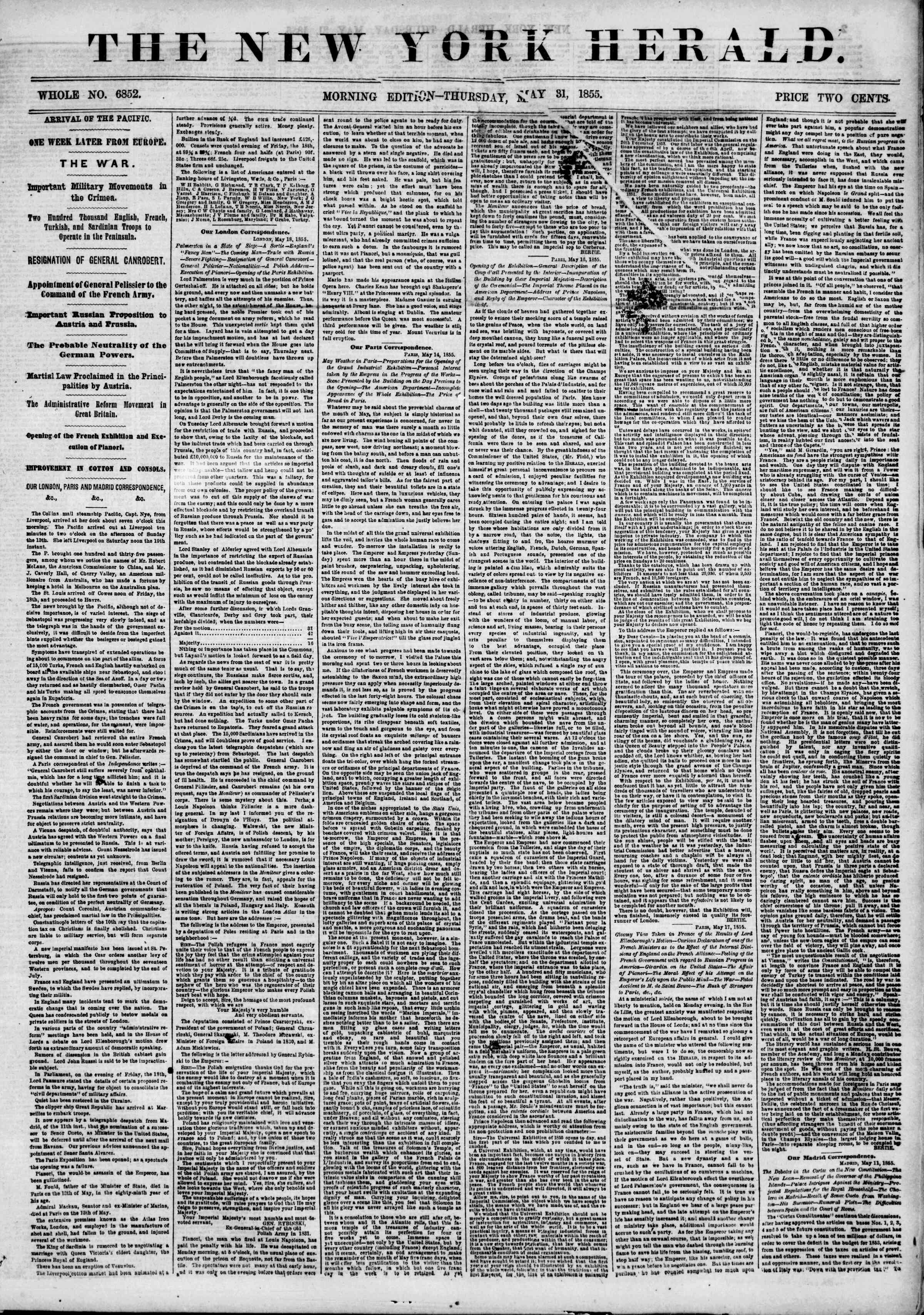 Newspaper of The New York Herald dated May 31, 1855 Page 1