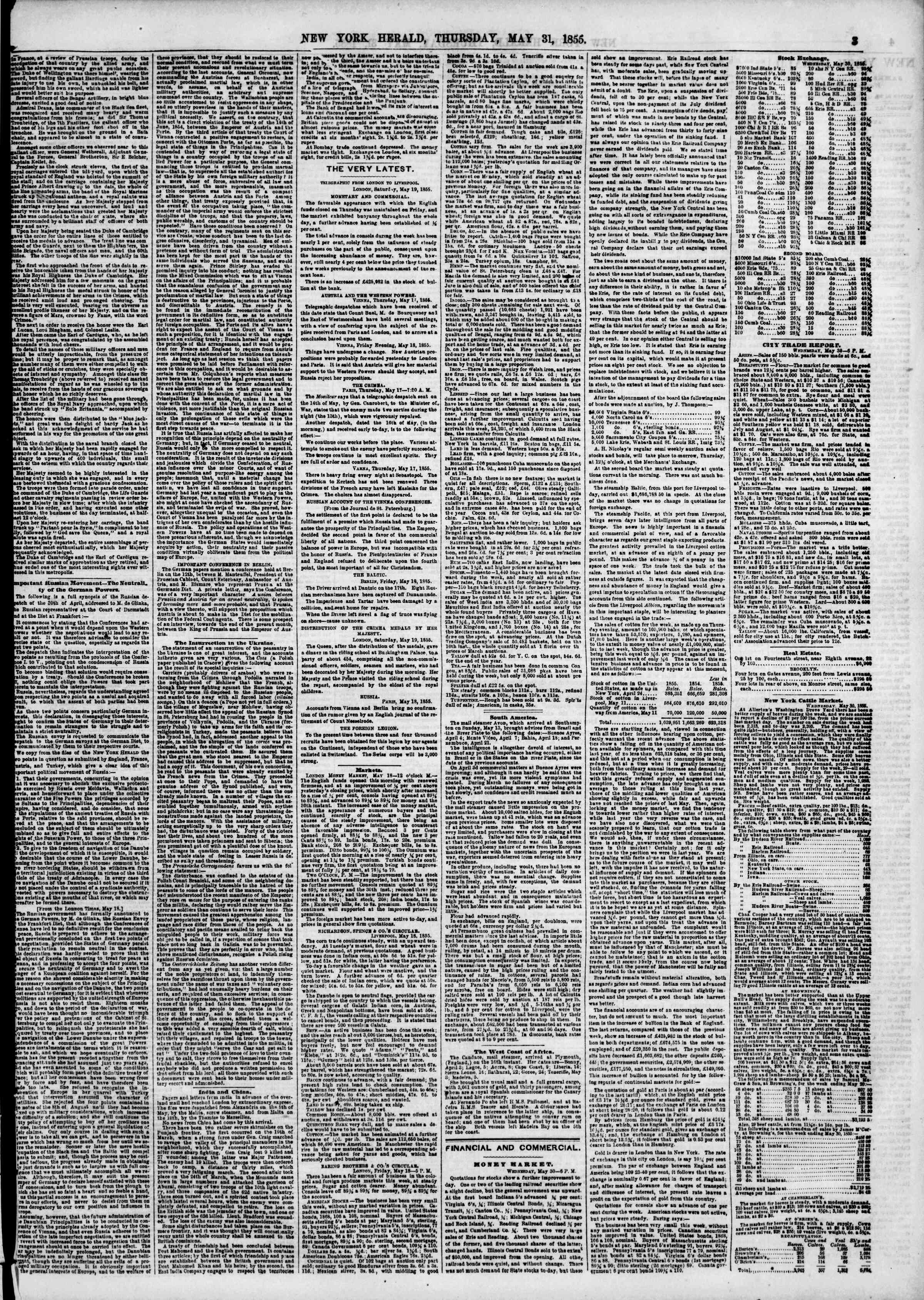 Newspaper of The New York Herald dated May 31, 1855 Page 3