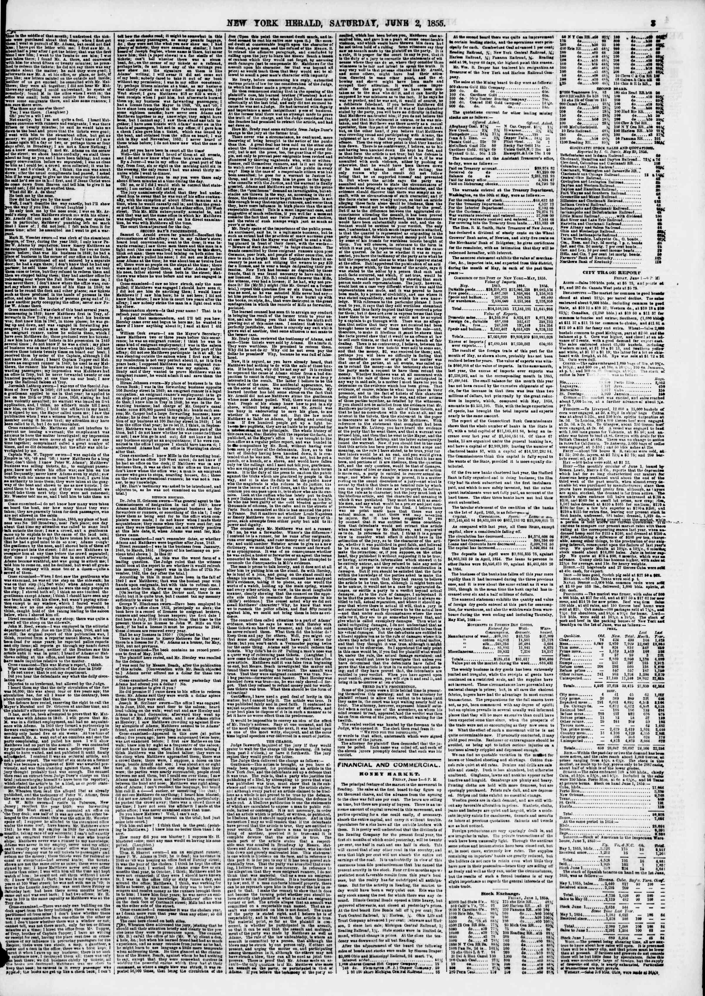 Newspaper of The New York Herald dated June 2, 1855 Page 3