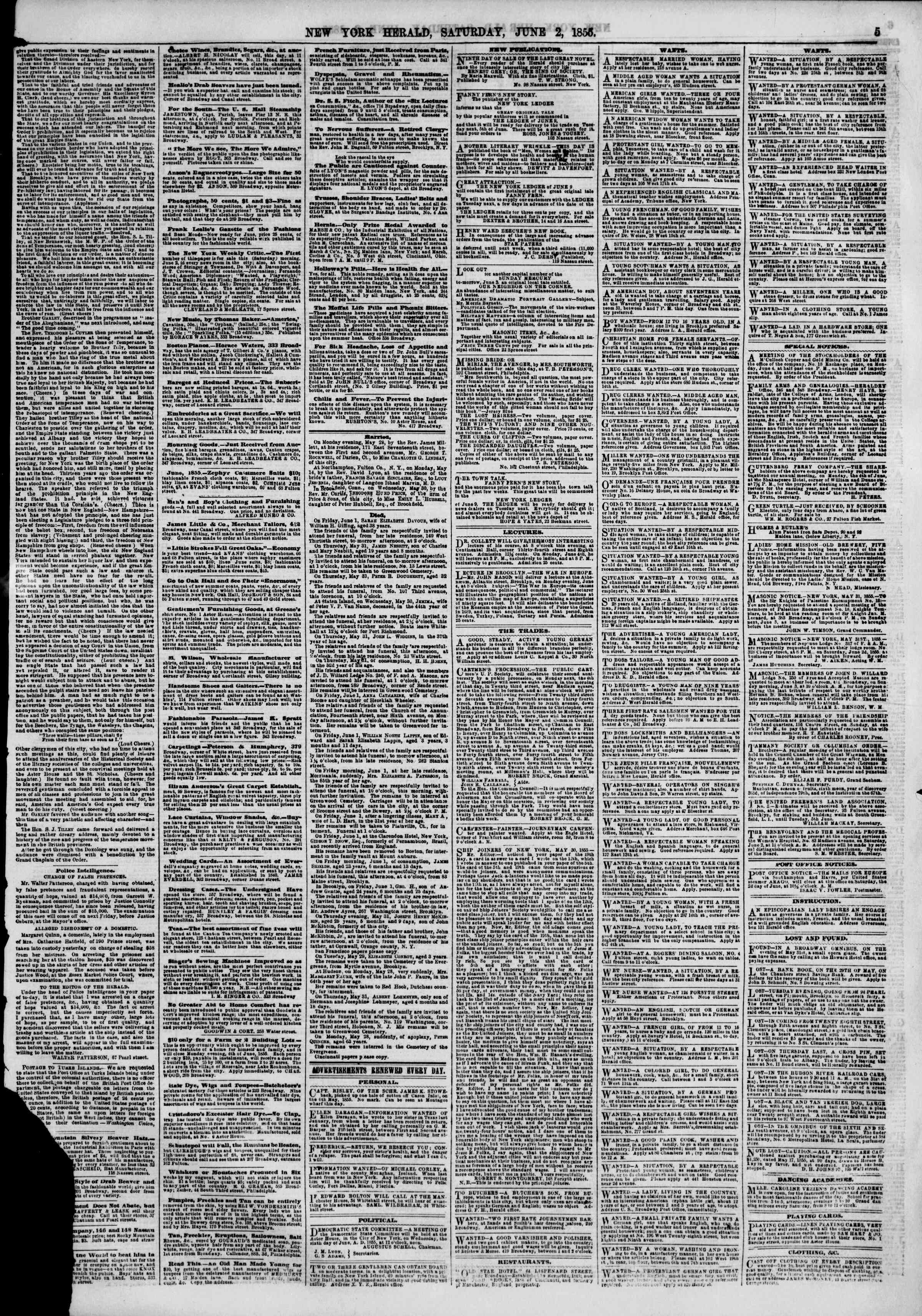 Newspaper of The New York Herald dated June 2, 1855 Page 5