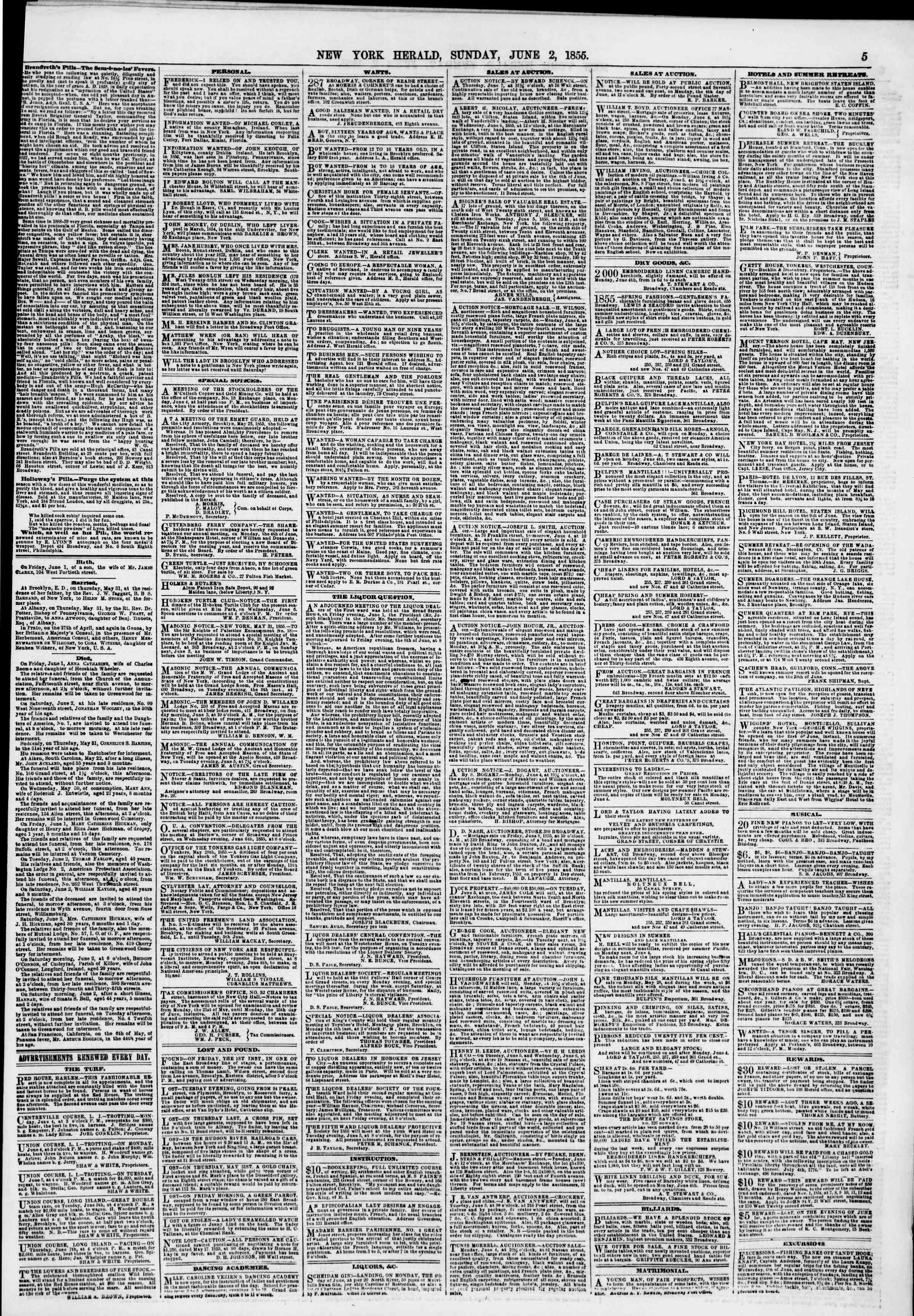 Newspaper of The New York Herald dated June 3, 1855 Page 5