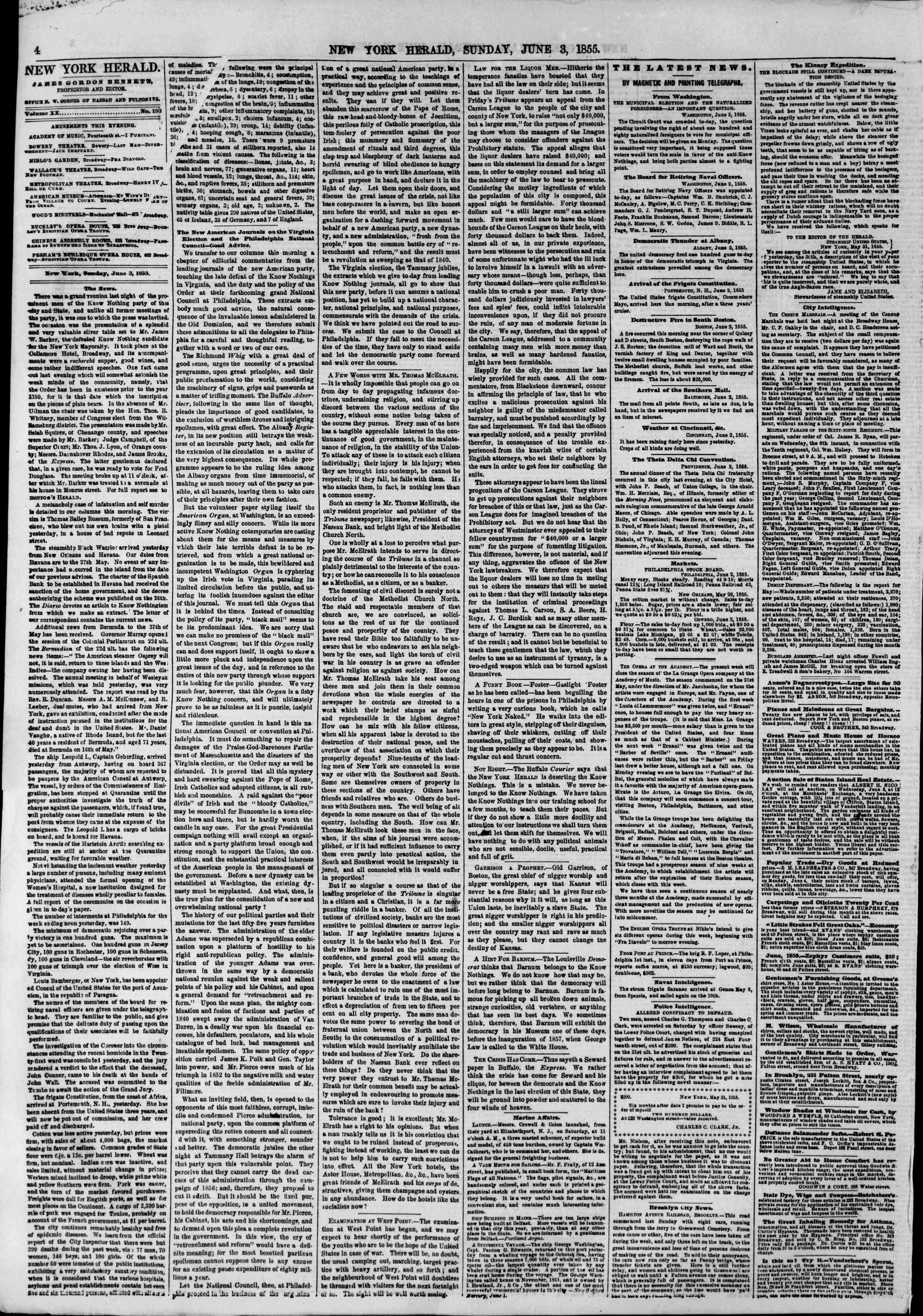 Newspaper of The New York Herald dated June 3, 1855 Page 6