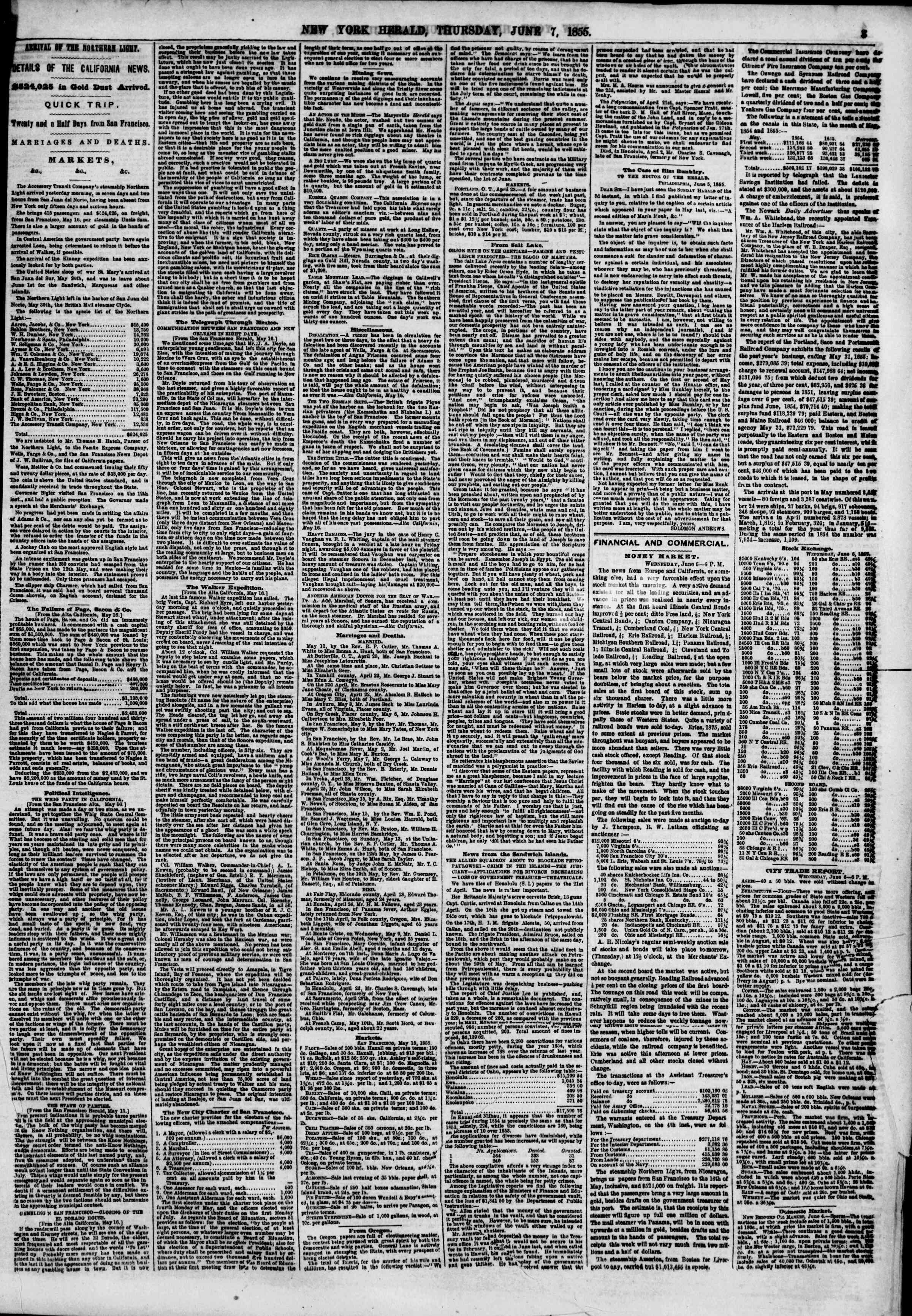 Newspaper of The New York Herald dated June 7, 1855 Page 3