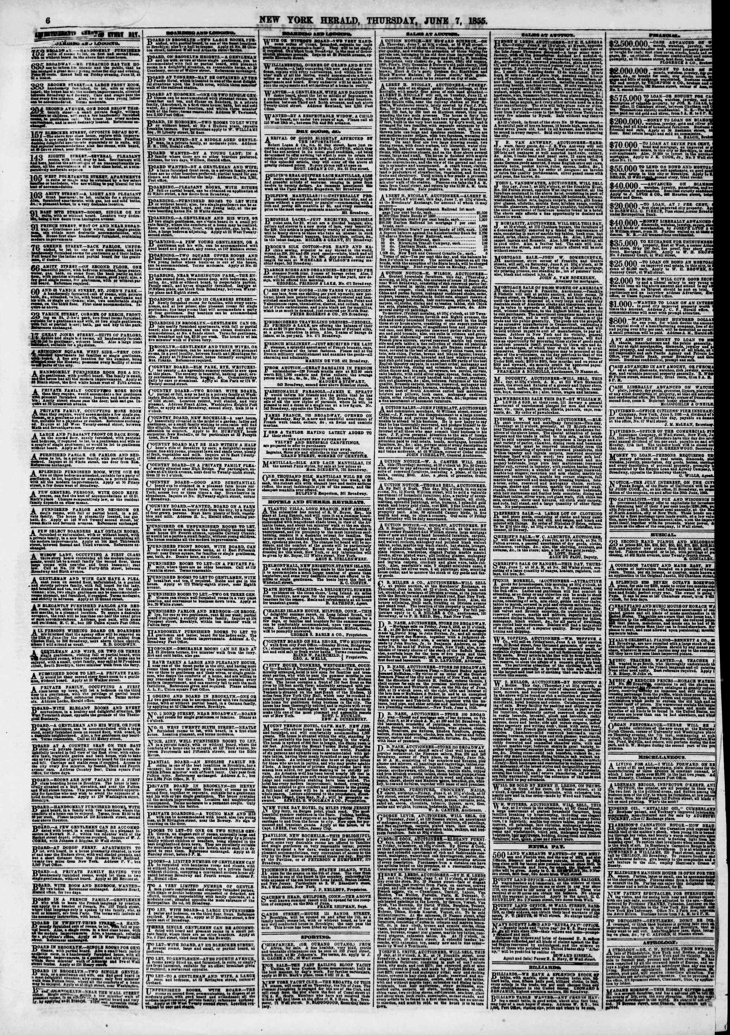 Newspaper of The New York Herald dated June 7, 1855 Page 6