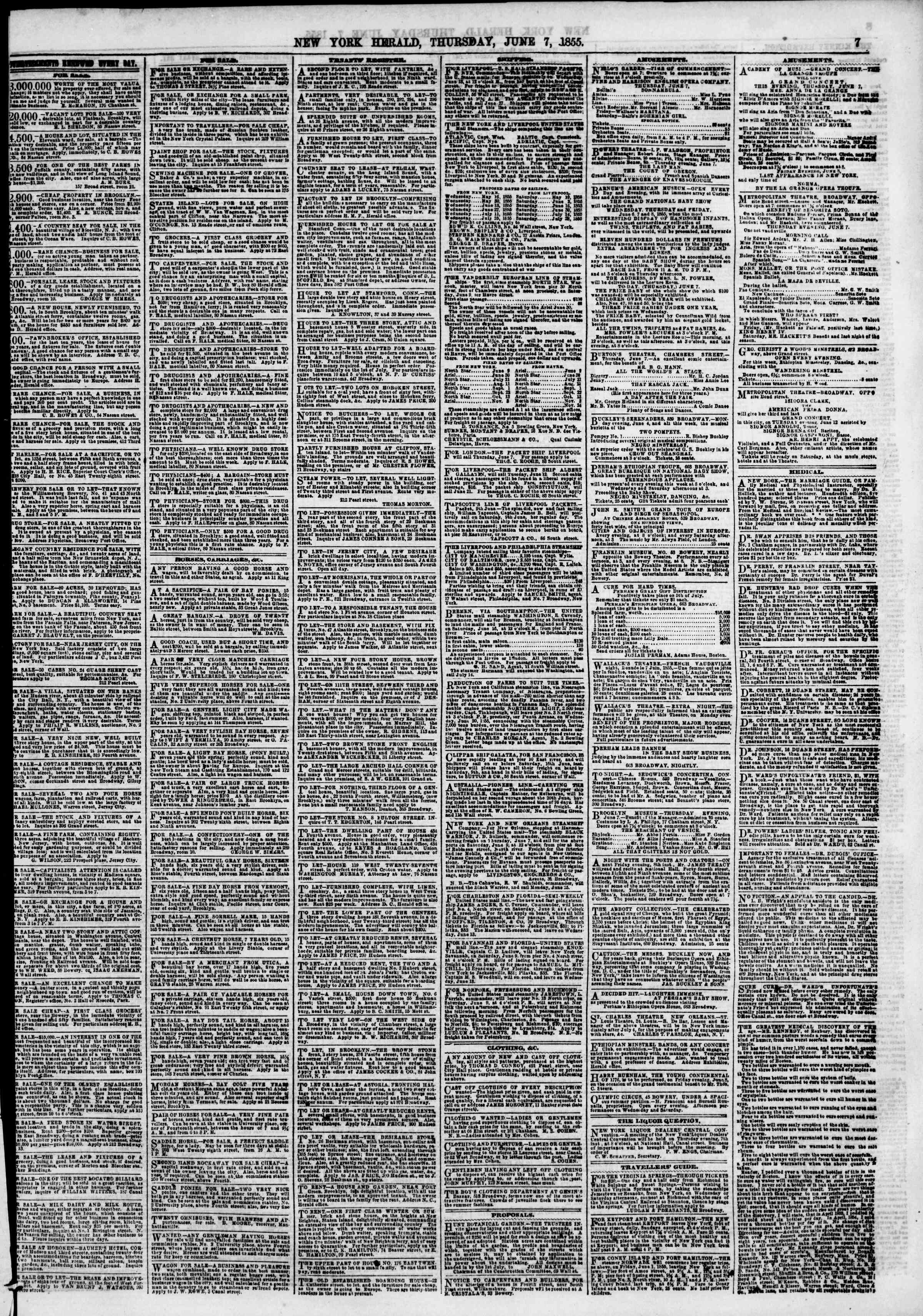 Newspaper of The New York Herald dated June 7, 1855 Page 7