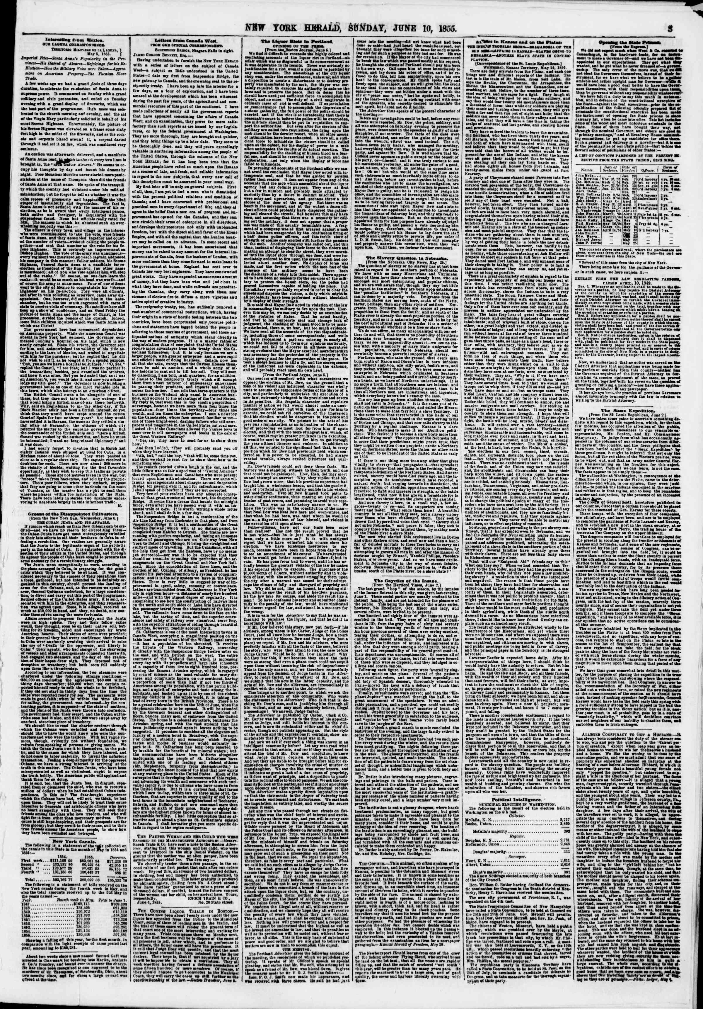 Newspaper of The New York Herald dated June 10, 1855 Page 3
