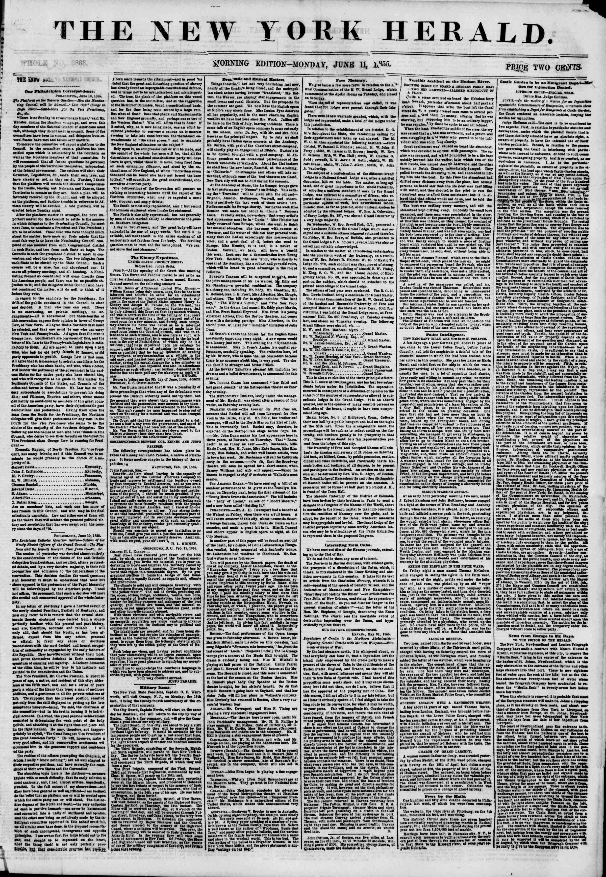 Newspaper of The New York Herald dated June 11, 1855 Page 1