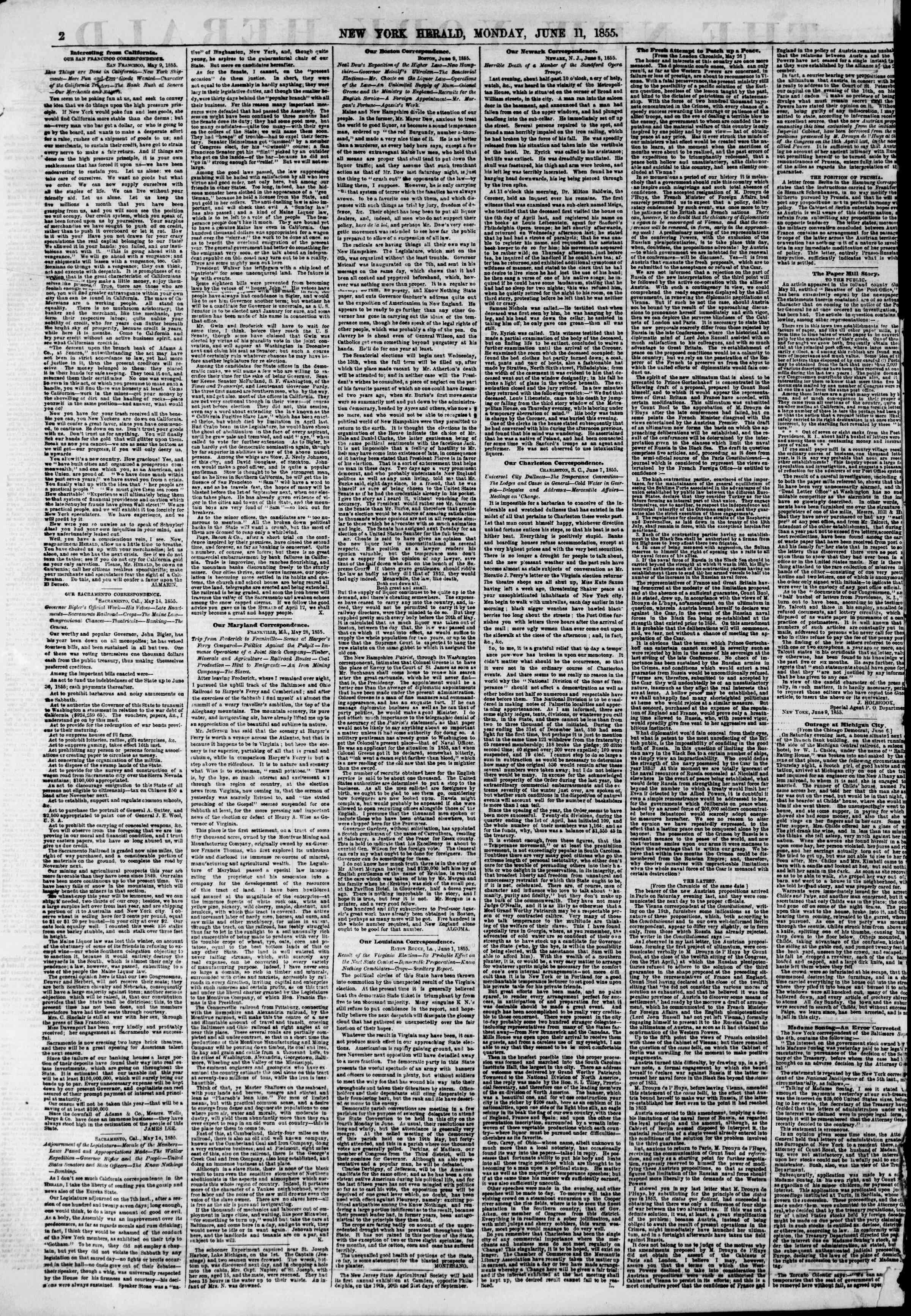 Newspaper of The New York Herald dated June 11, 1855 Page 2