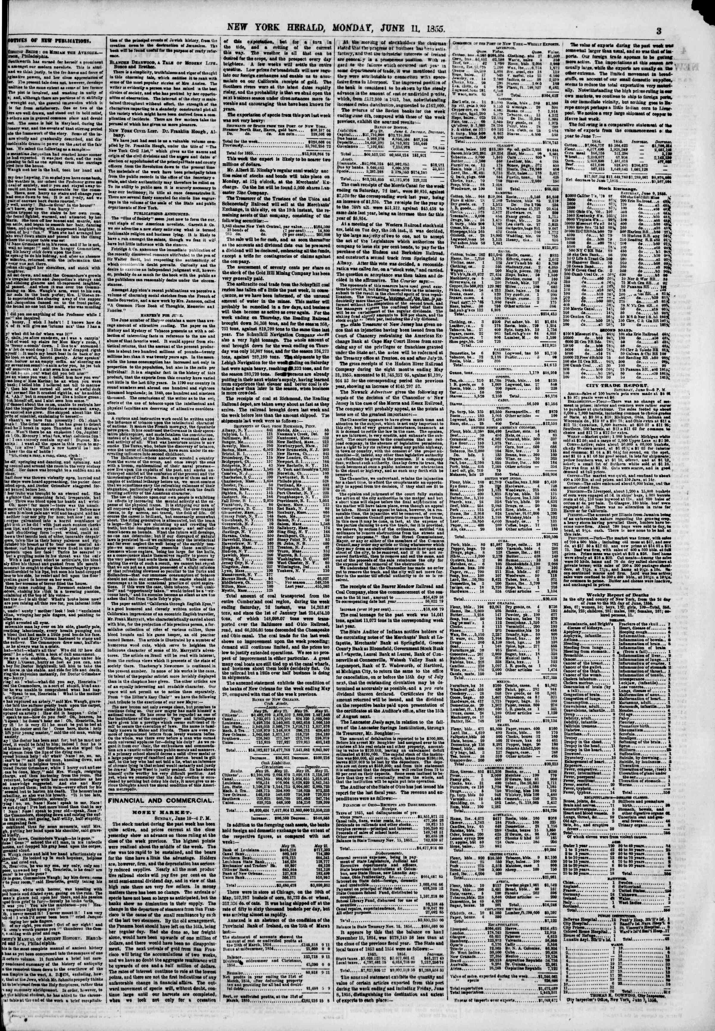 Newspaper of The New York Herald dated June 11, 1855 Page 3