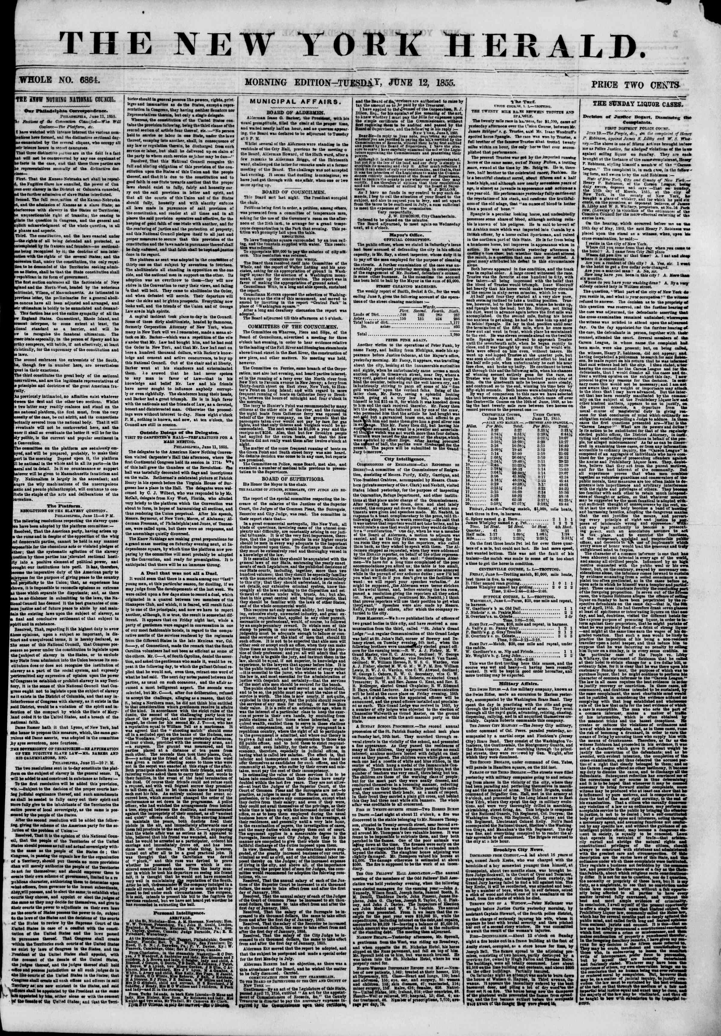 Newspaper of The New York Herald dated June 12, 1855 Page 1