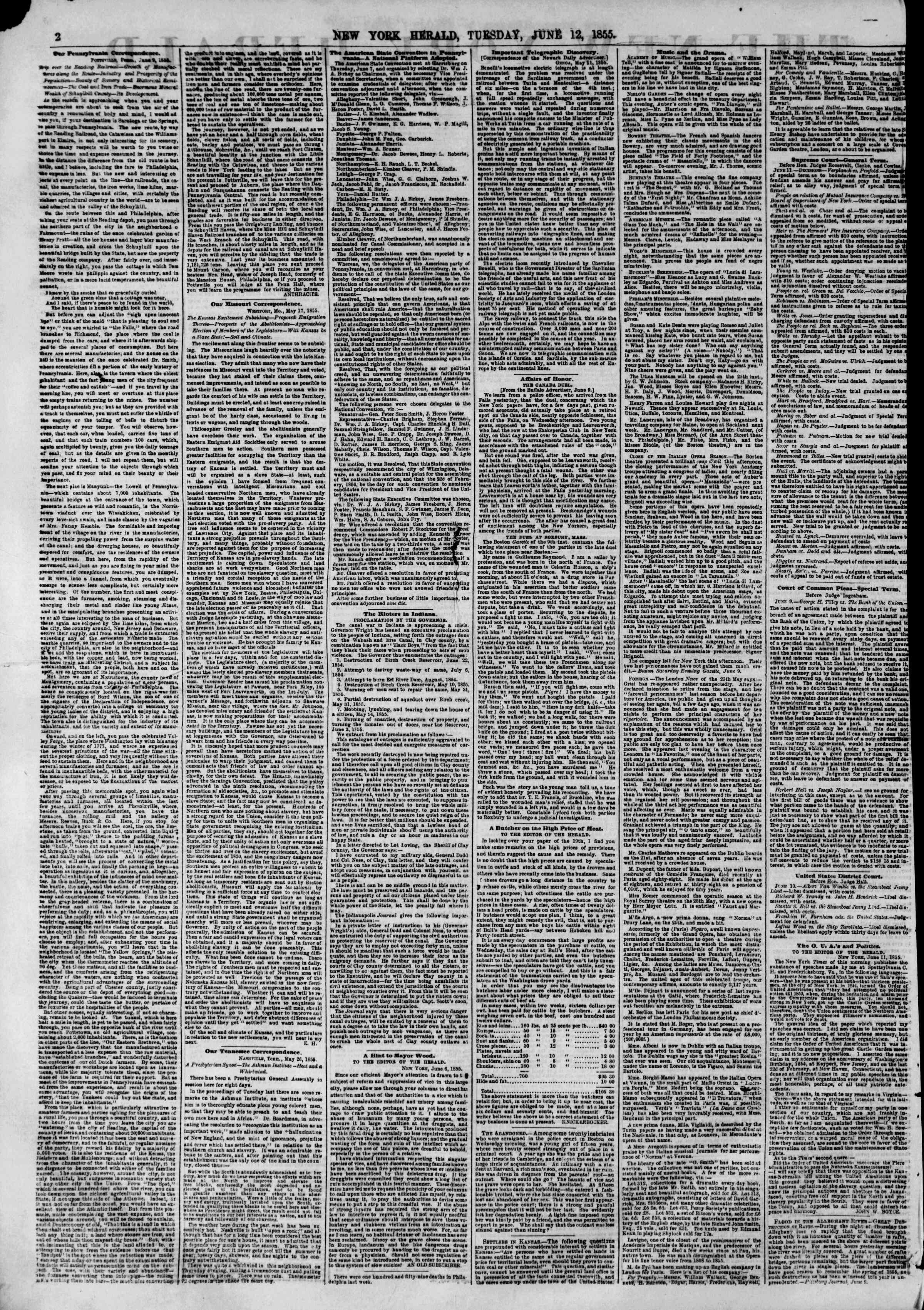 Newspaper of The New York Herald dated June 12, 1855 Page 2