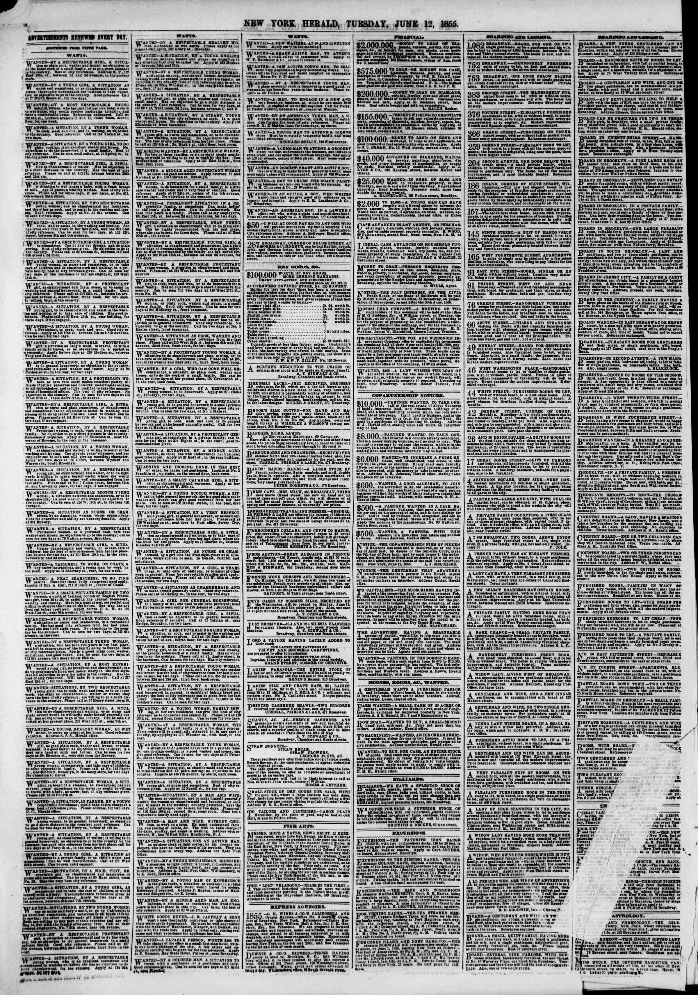 Newspaper of The New York Herald dated June 12, 1855 Page 8