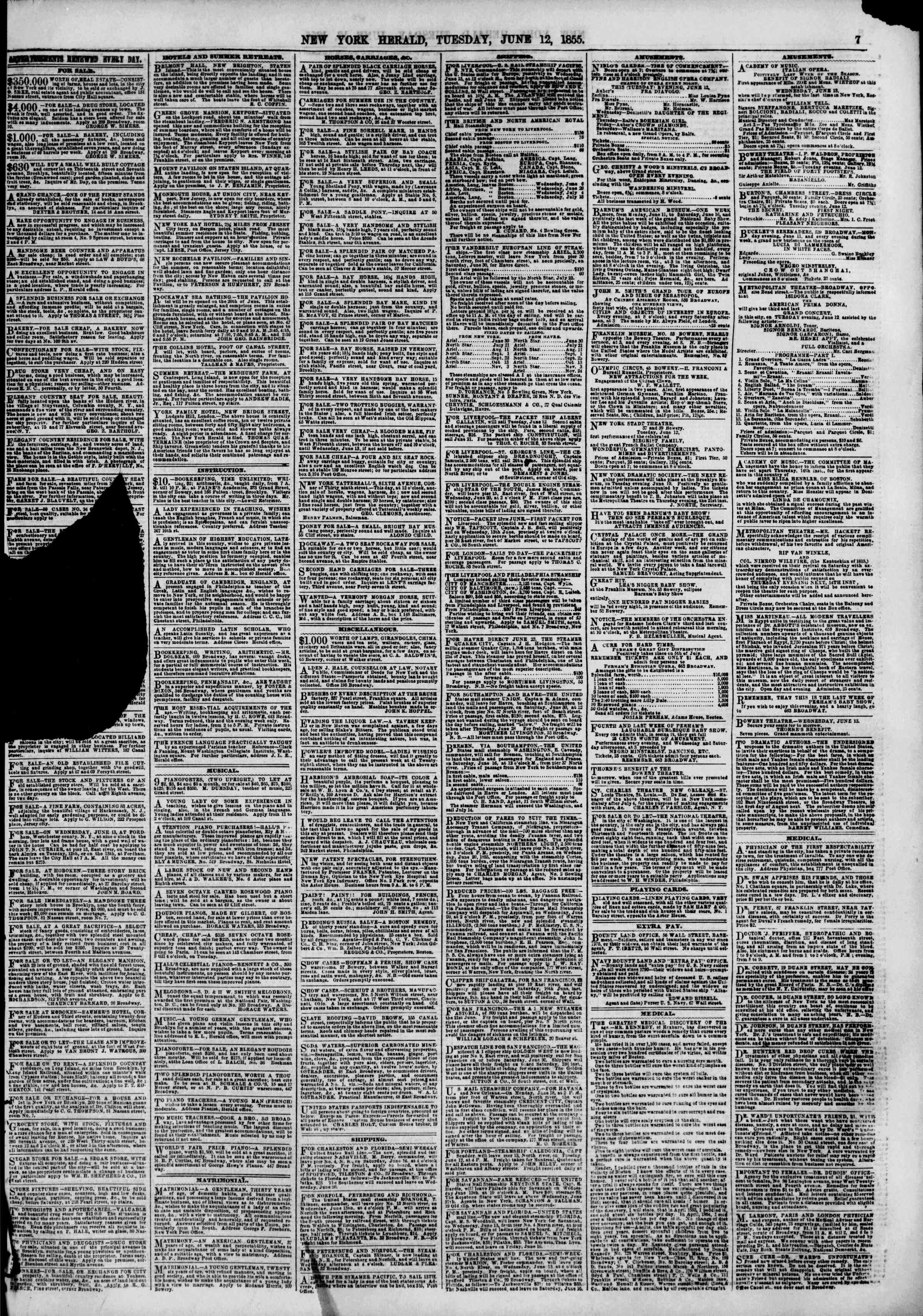 Newspaper of The New York Herald dated June 12, 1855 Page 9