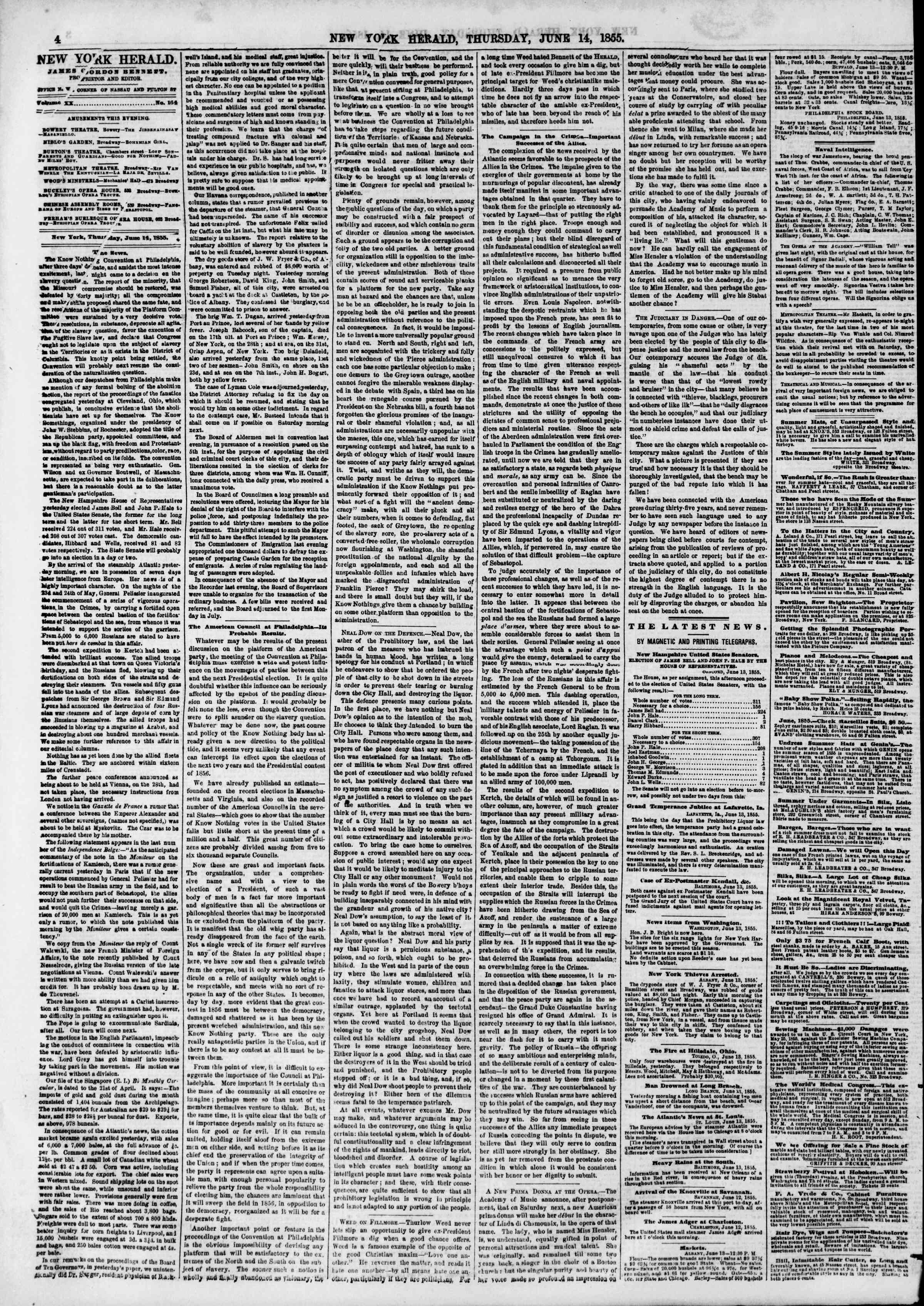 Newspaper of The New York Herald dated June 14, 1855 Page 4