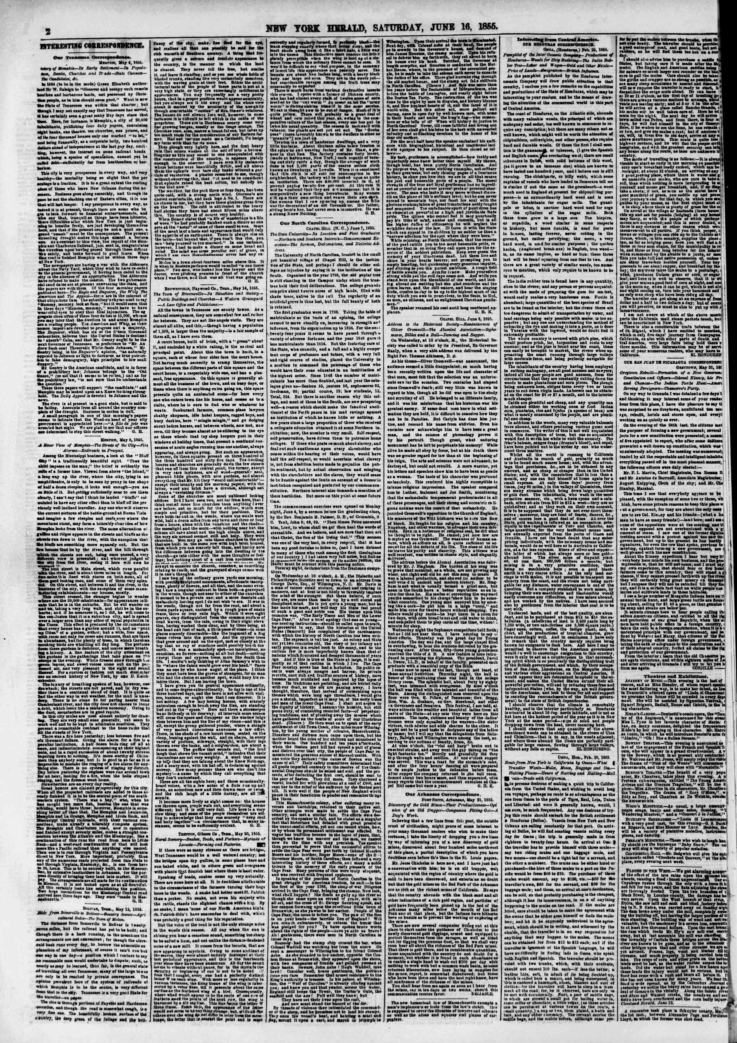 Newspaper of The New York Herald dated June 16, 1855 Page 2