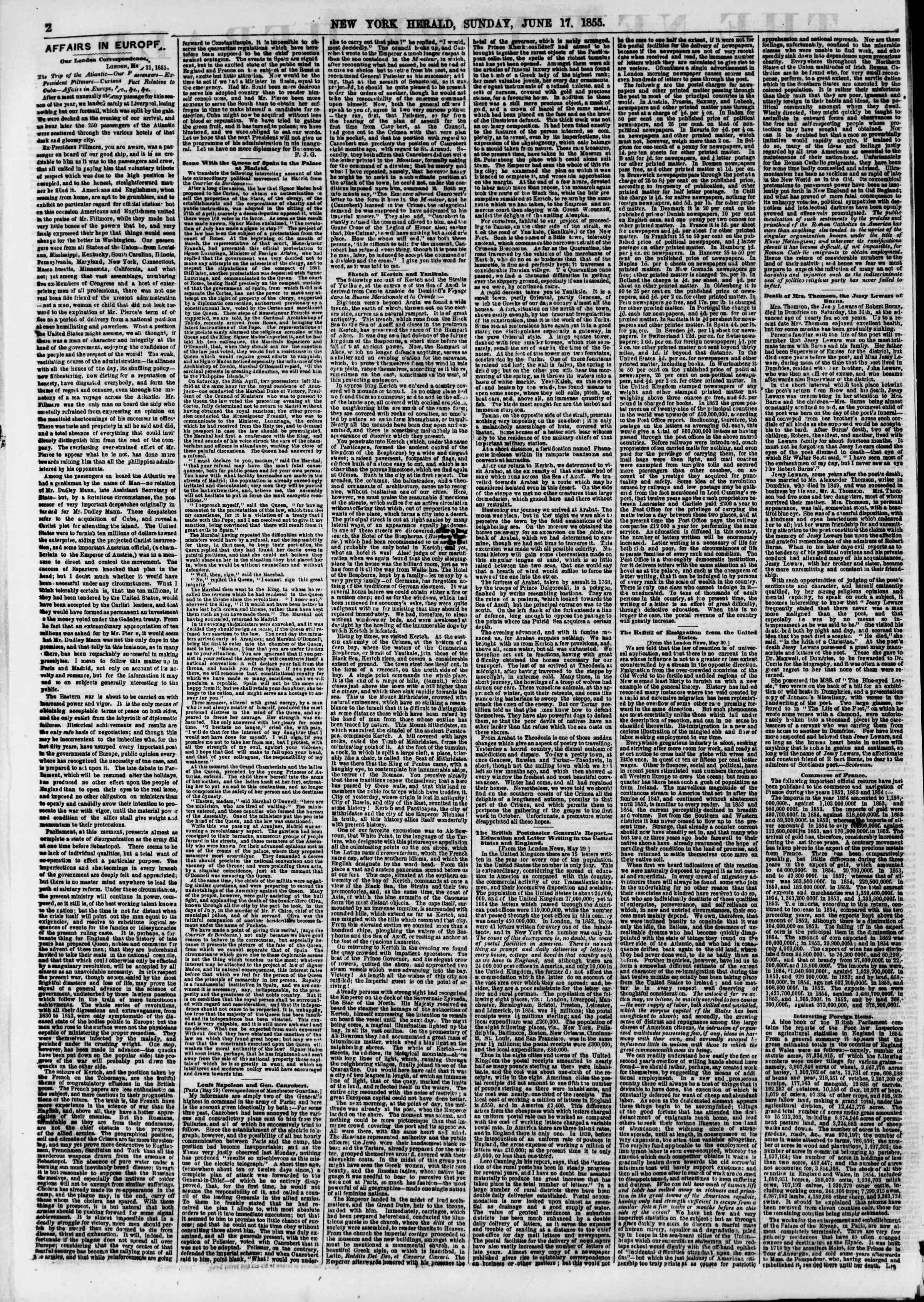 Newspaper of The New York Herald dated June 17, 1855 Page 2
