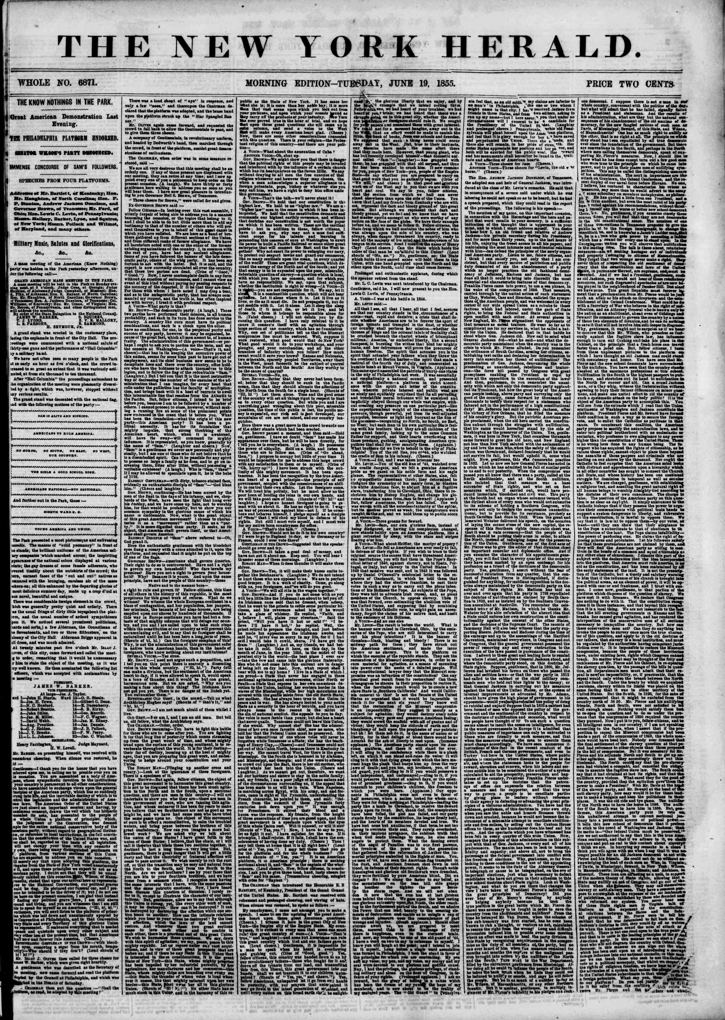 Newspaper of The New York Herald dated June 19, 1855 Page 1