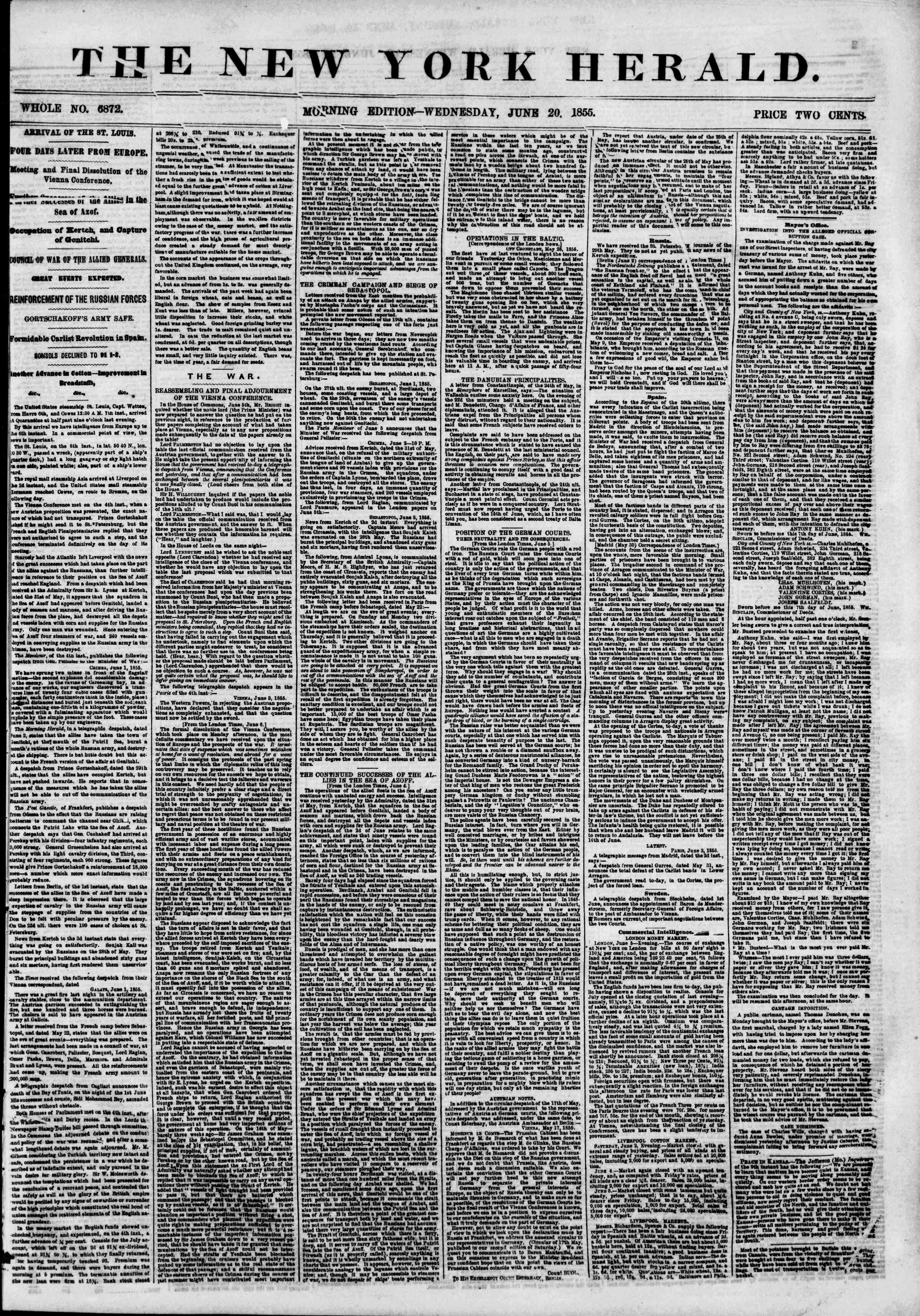 Newspaper of The New York Herald dated June 20, 1855 Page 1