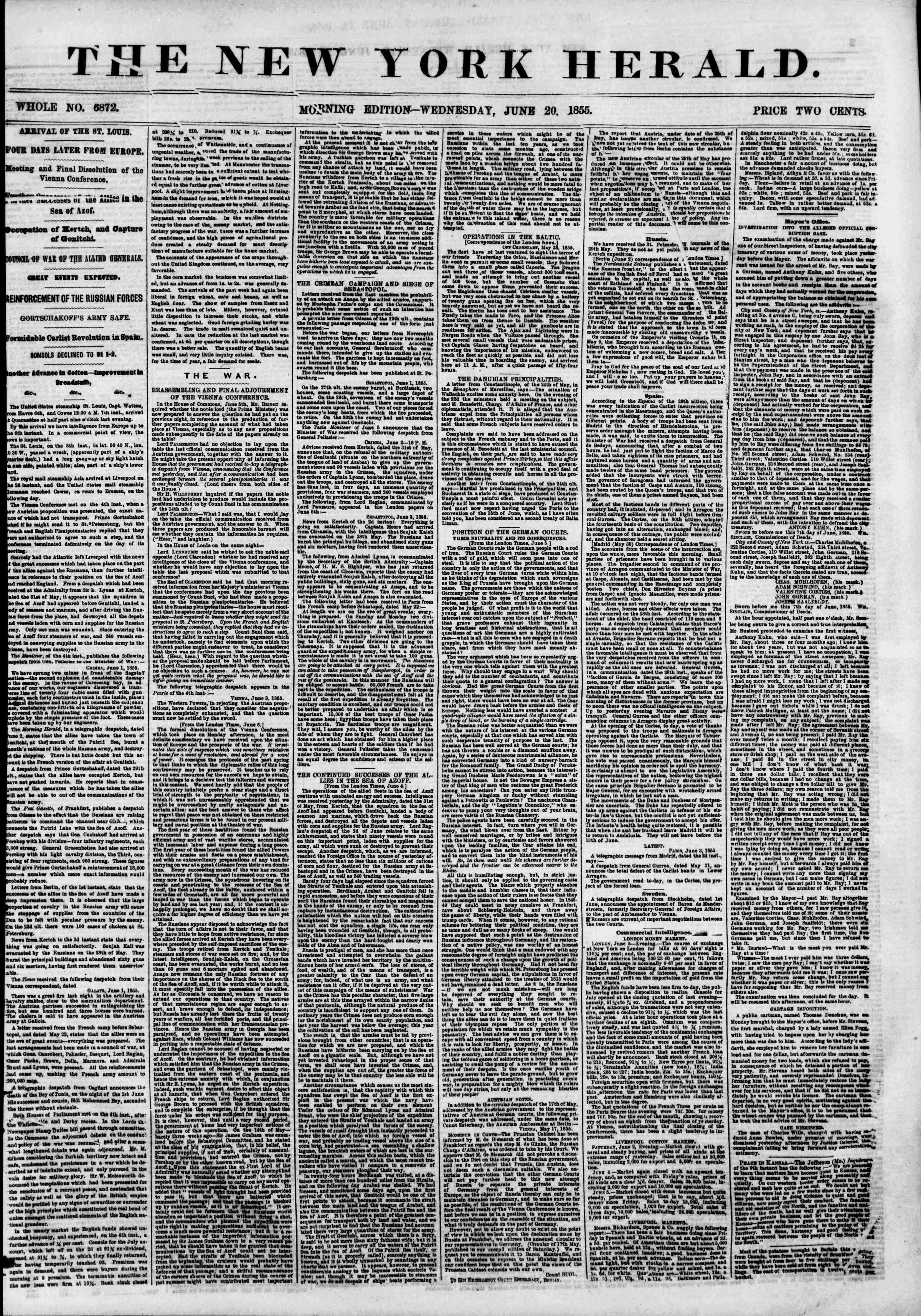 Newspaper of The New York Herald dated June 20, 1855 Page 2