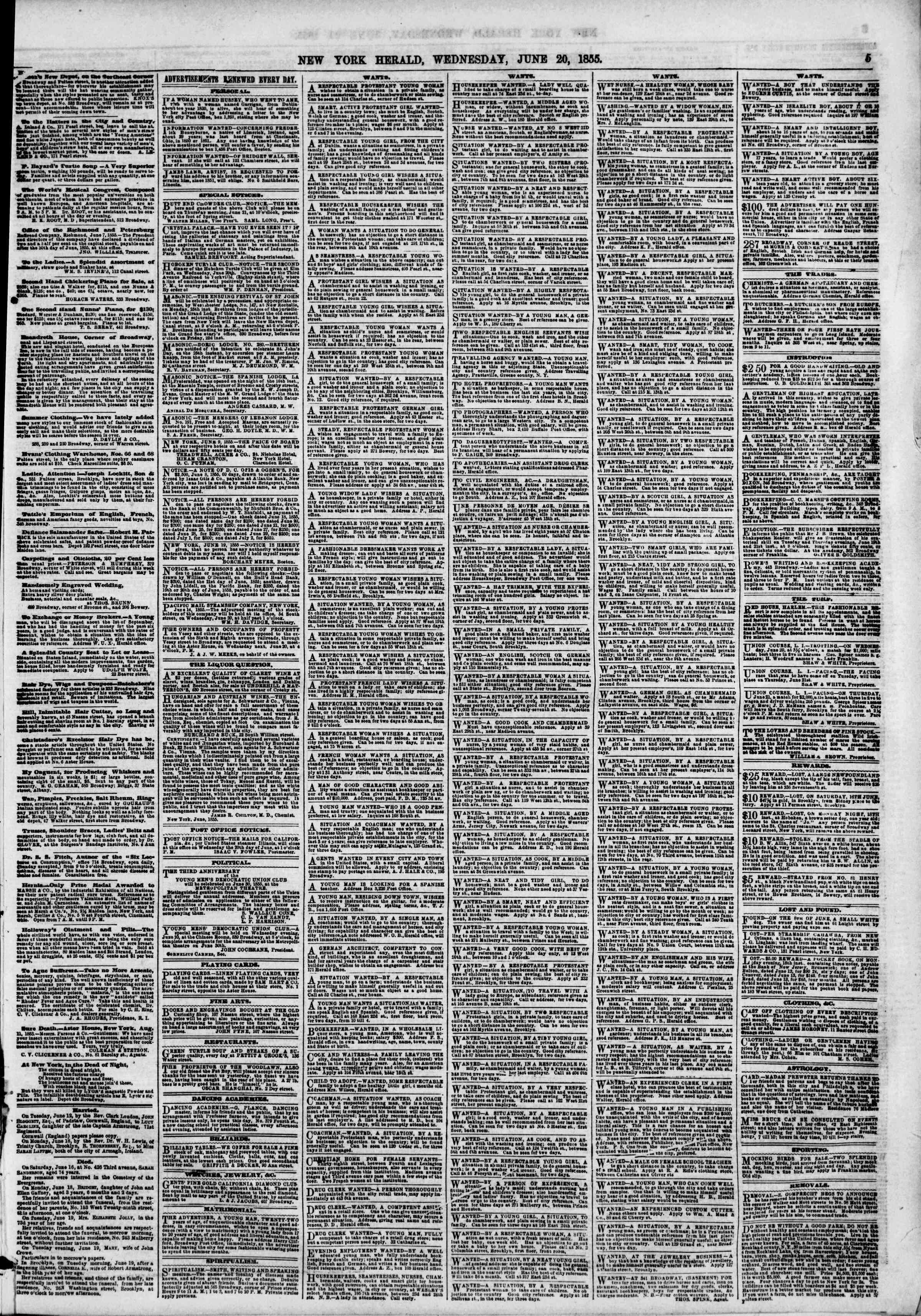 Newspaper of The New York Herald dated June 20, 1855 Page 11