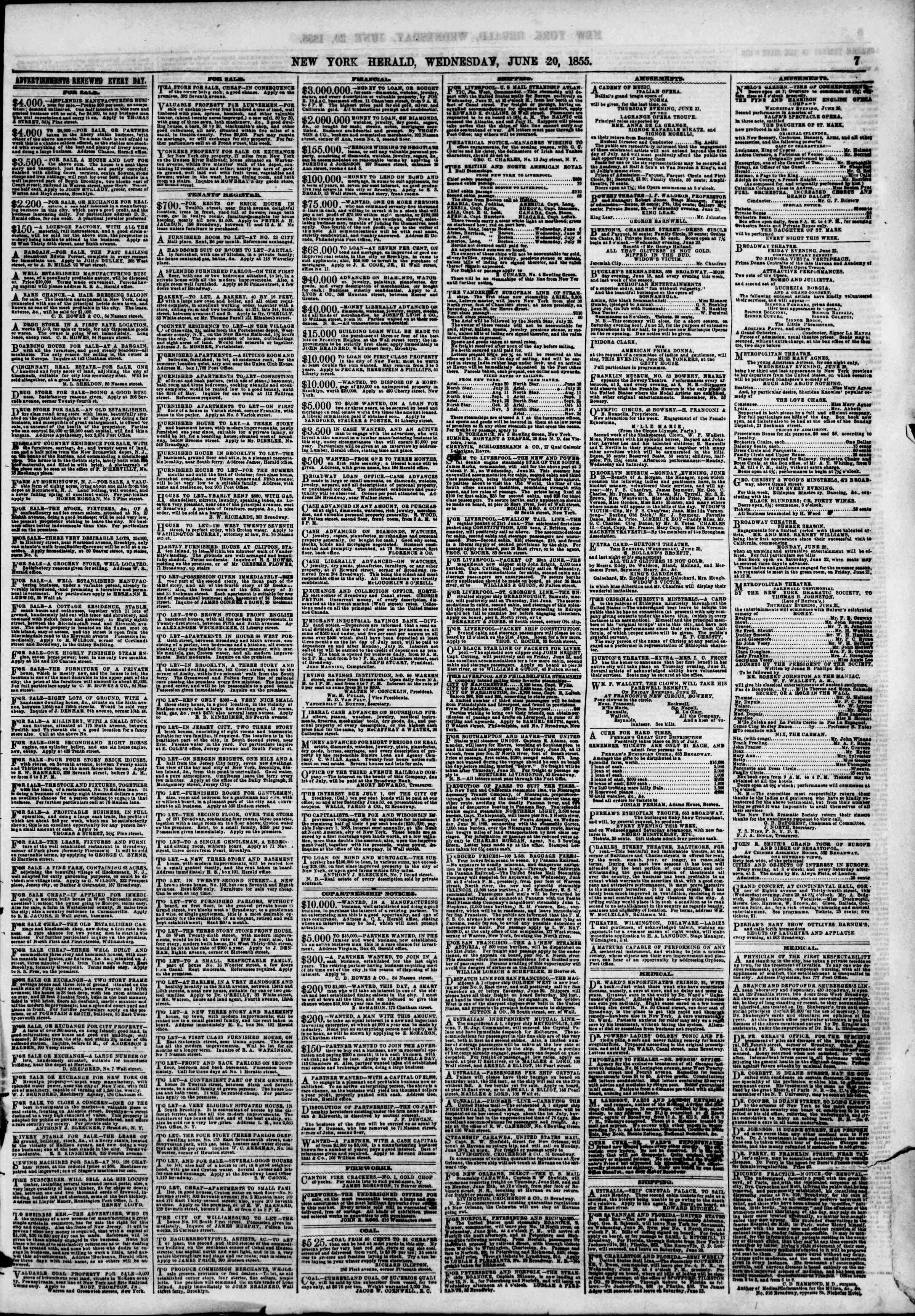 Newspaper of The New York Herald dated June 20, 1855 Page 16
