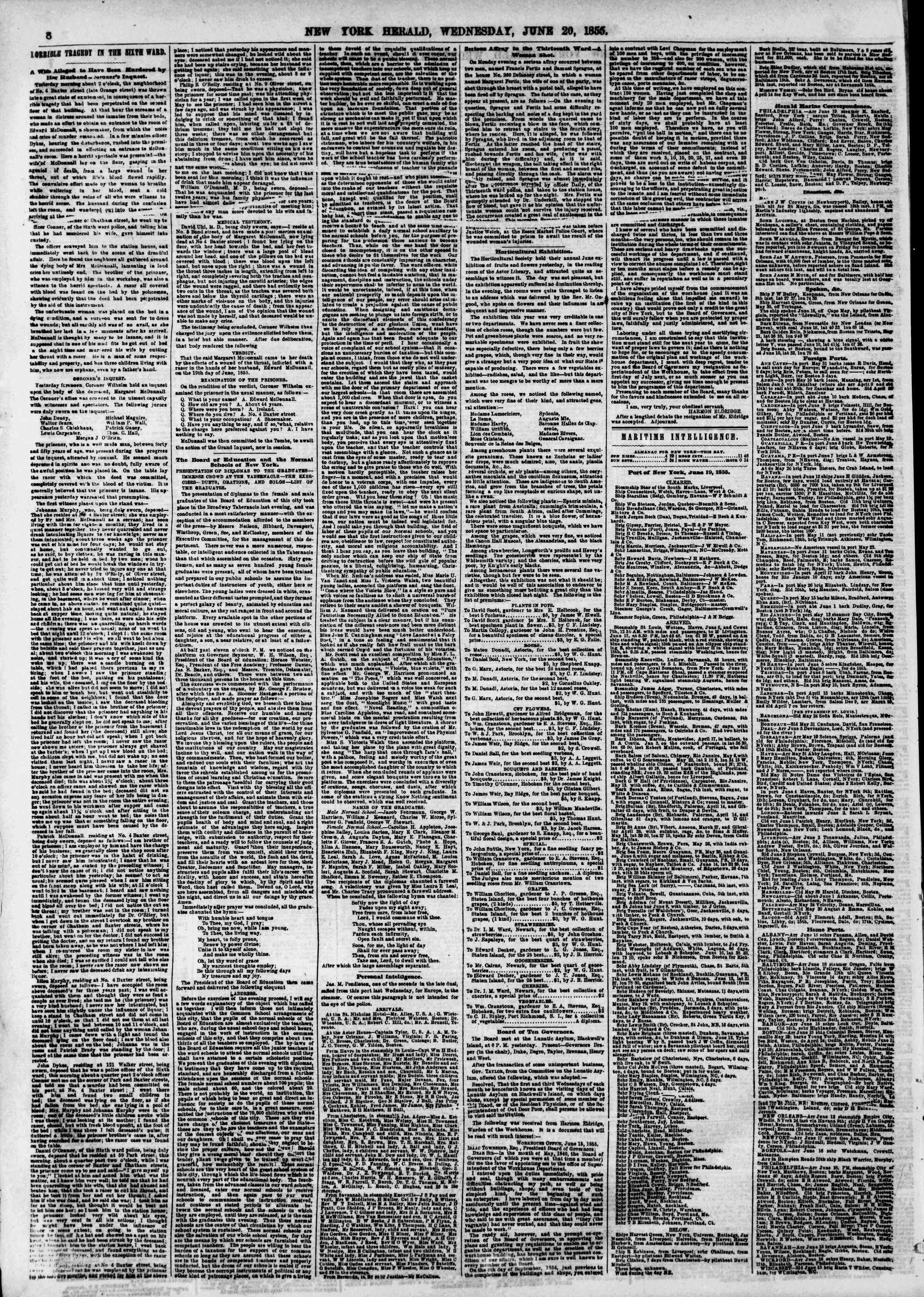 Newspaper of The New York Herald dated June 20, 1855 Page 17
