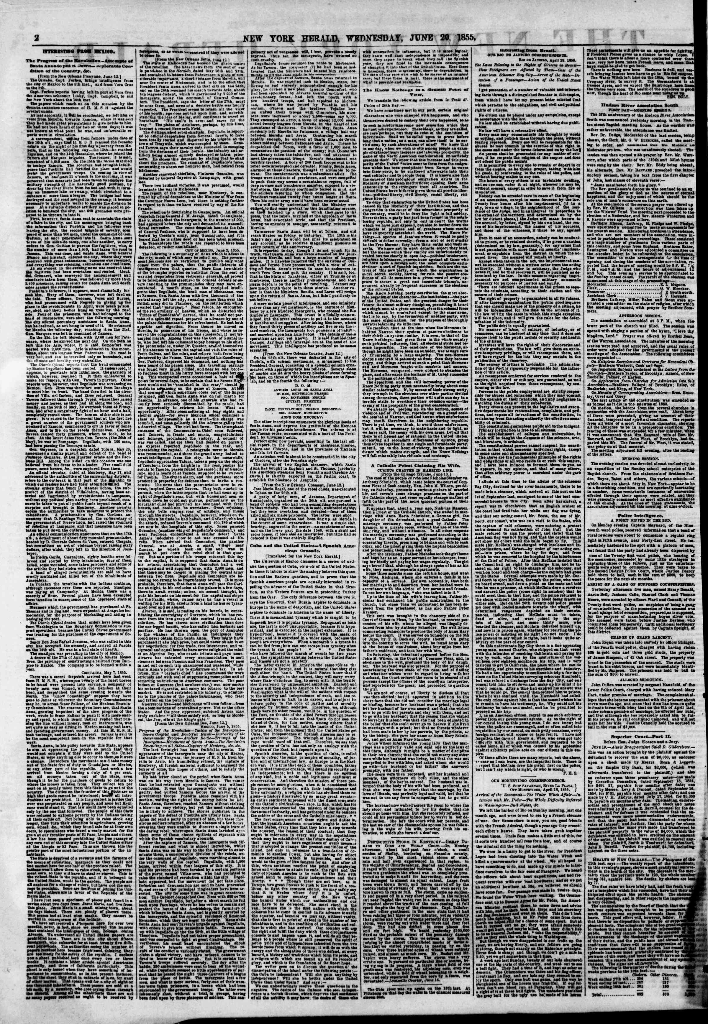 Newspaper of The New York Herald dated June 20, 1855 Page 5