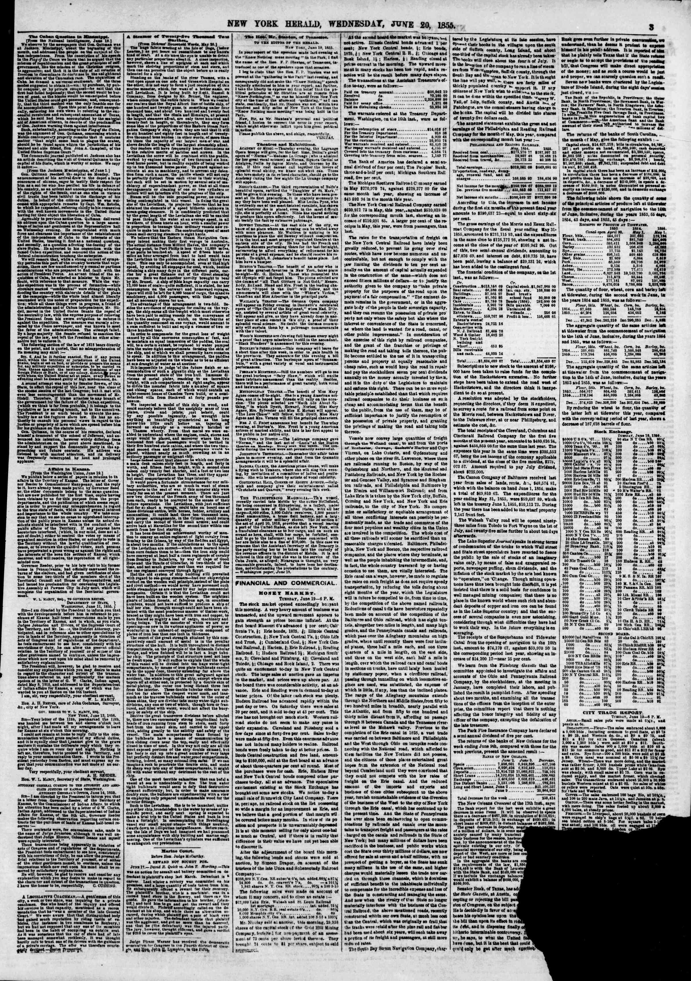 Newspaper of The New York Herald dated June 20, 1855 Page 8